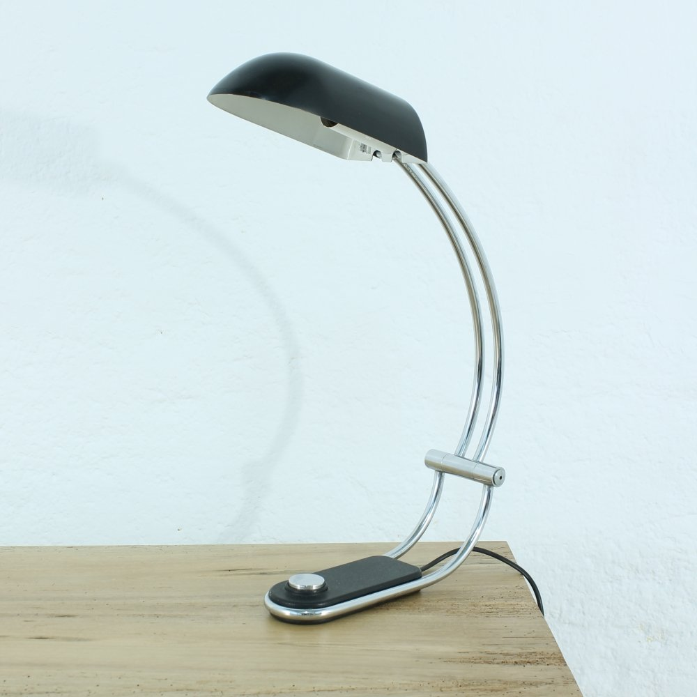 Matte schwarze Schreibtischlampe von Egon Hillebrand, 1970er