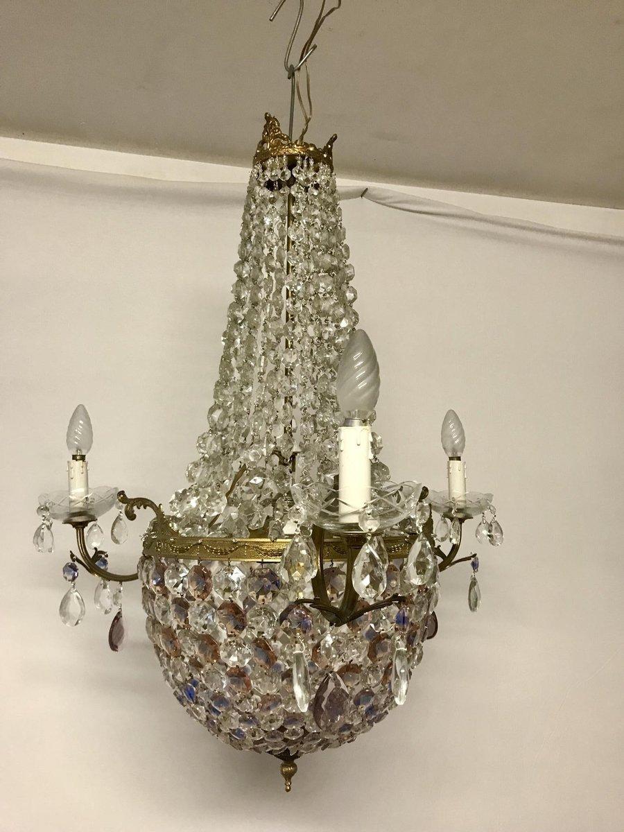 Italienischer Vintage Kronleuchter aus Kristallglas