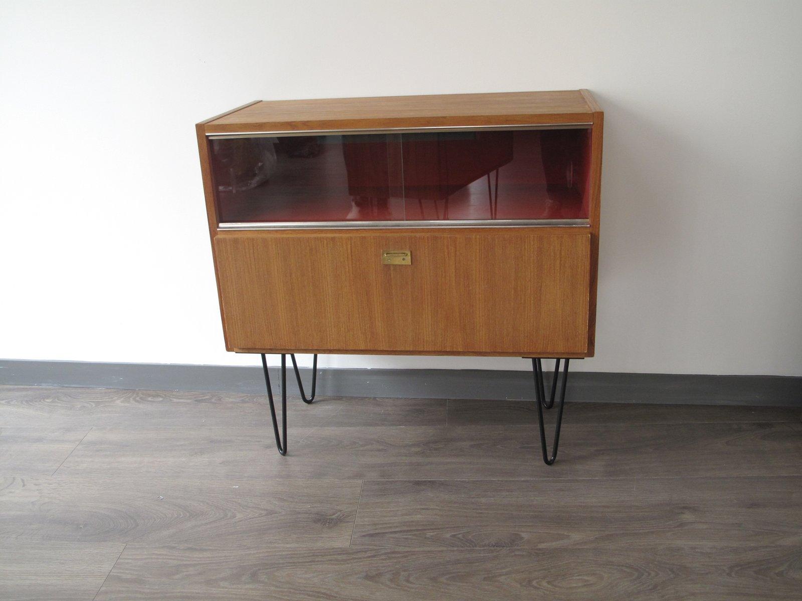 Vintage Barschrank, 1950er | Küche und Esszimmer > Bar-Möbel > Barschränke | Rot | Holz