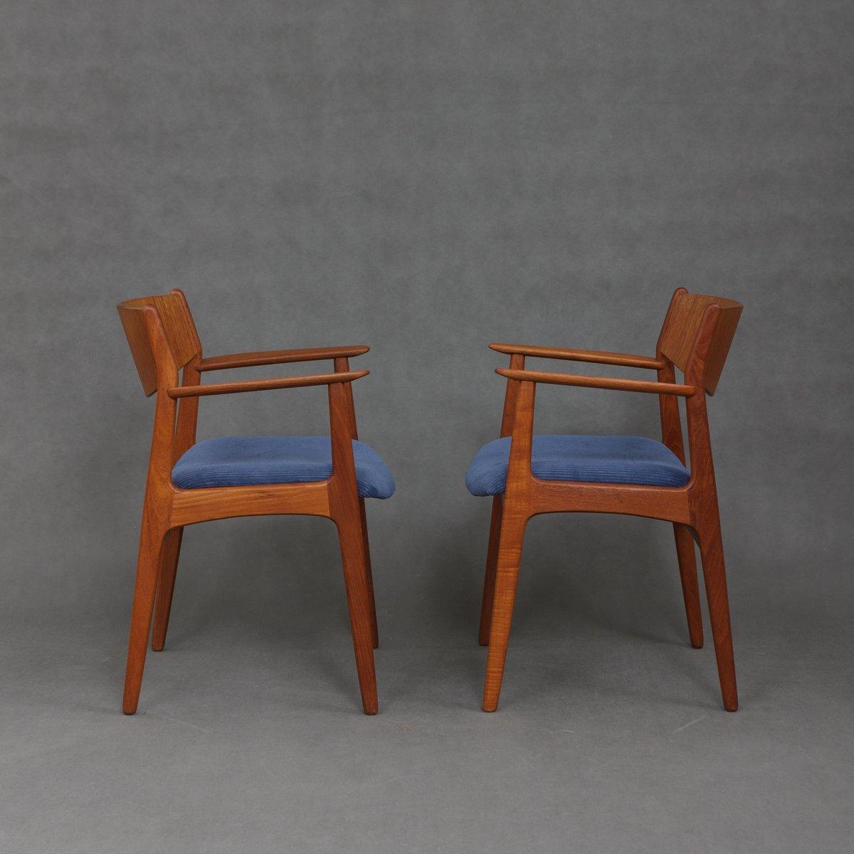 d nische vintage teak armlehnst hle mit kord sitzen 1960er 2er set bei pamono kaufen. Black Bedroom Furniture Sets. Home Design Ideas