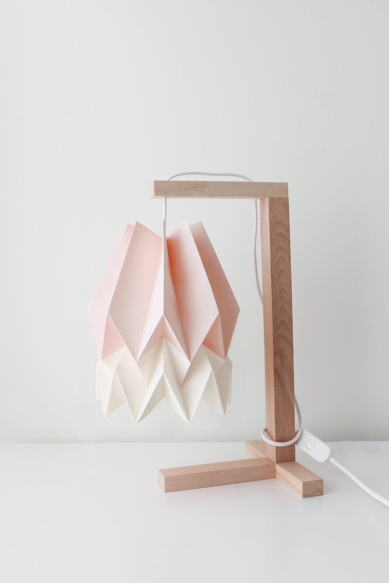 Pastellrosa Tischlampe mit weißem Streifen von Orikomi