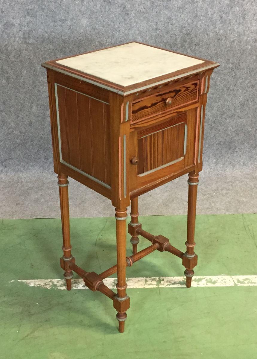 table de chevet antique en pin marbre en vente sur pamono. Black Bedroom Furniture Sets. Home Design Ideas