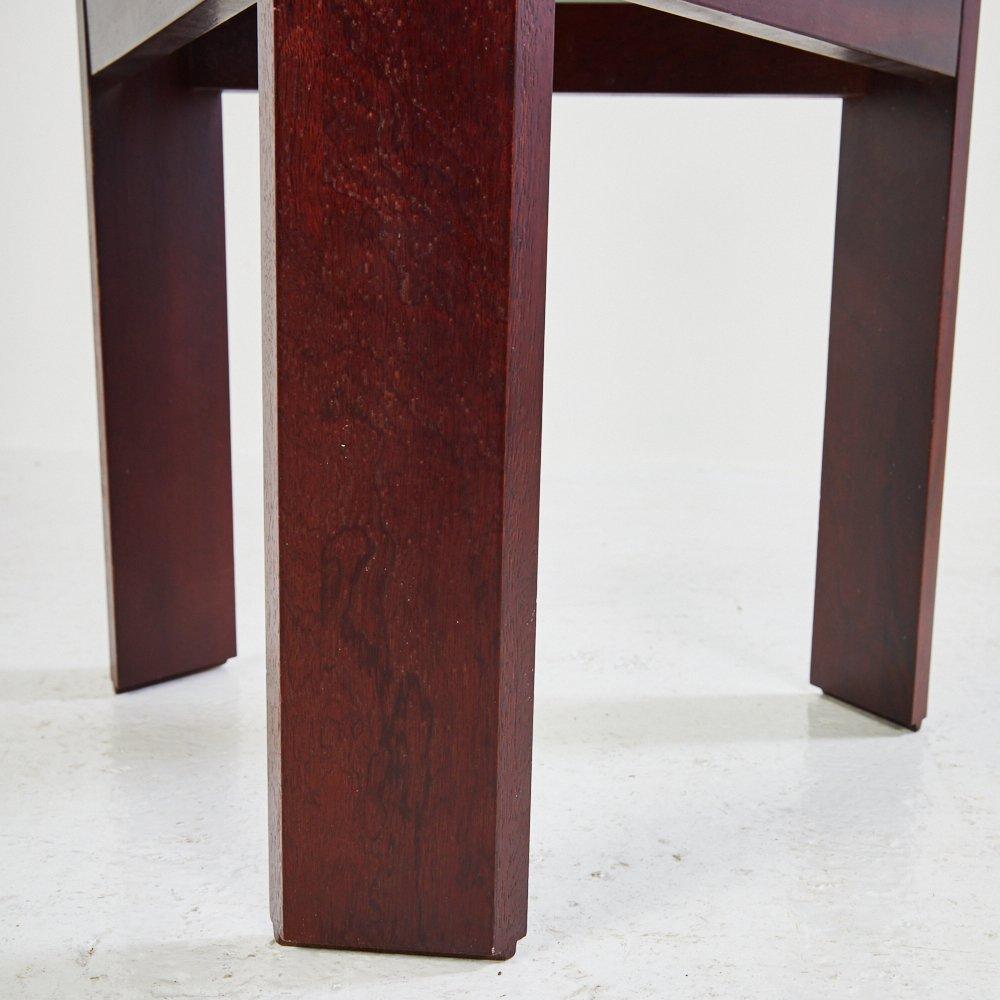vintage holz beistelltisch mit rauchglas 1970er bei pamono kaufen. Black Bedroom Furniture Sets. Home Design Ideas