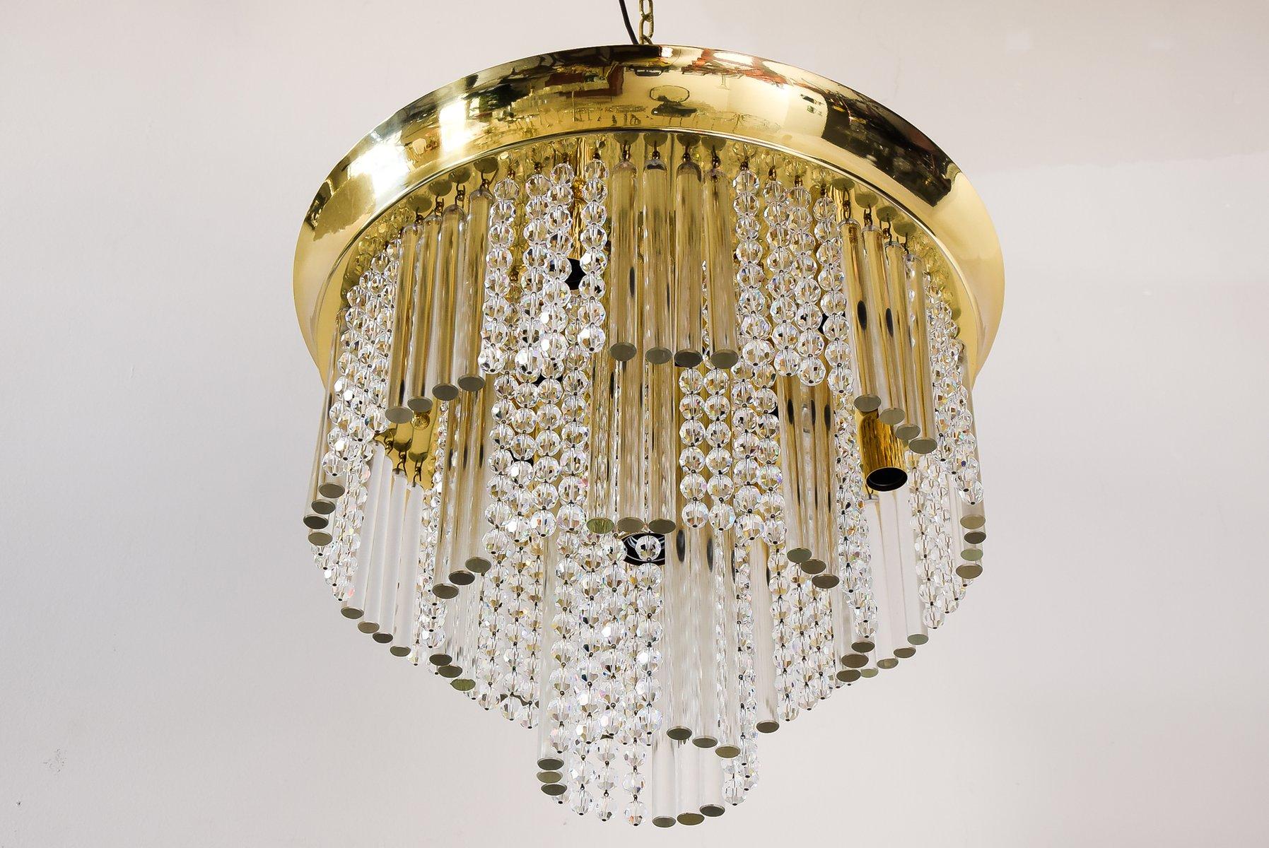 Dreistufige Glas Deckenlampe mit Kristallen von J. T. Kalmar, 1960er