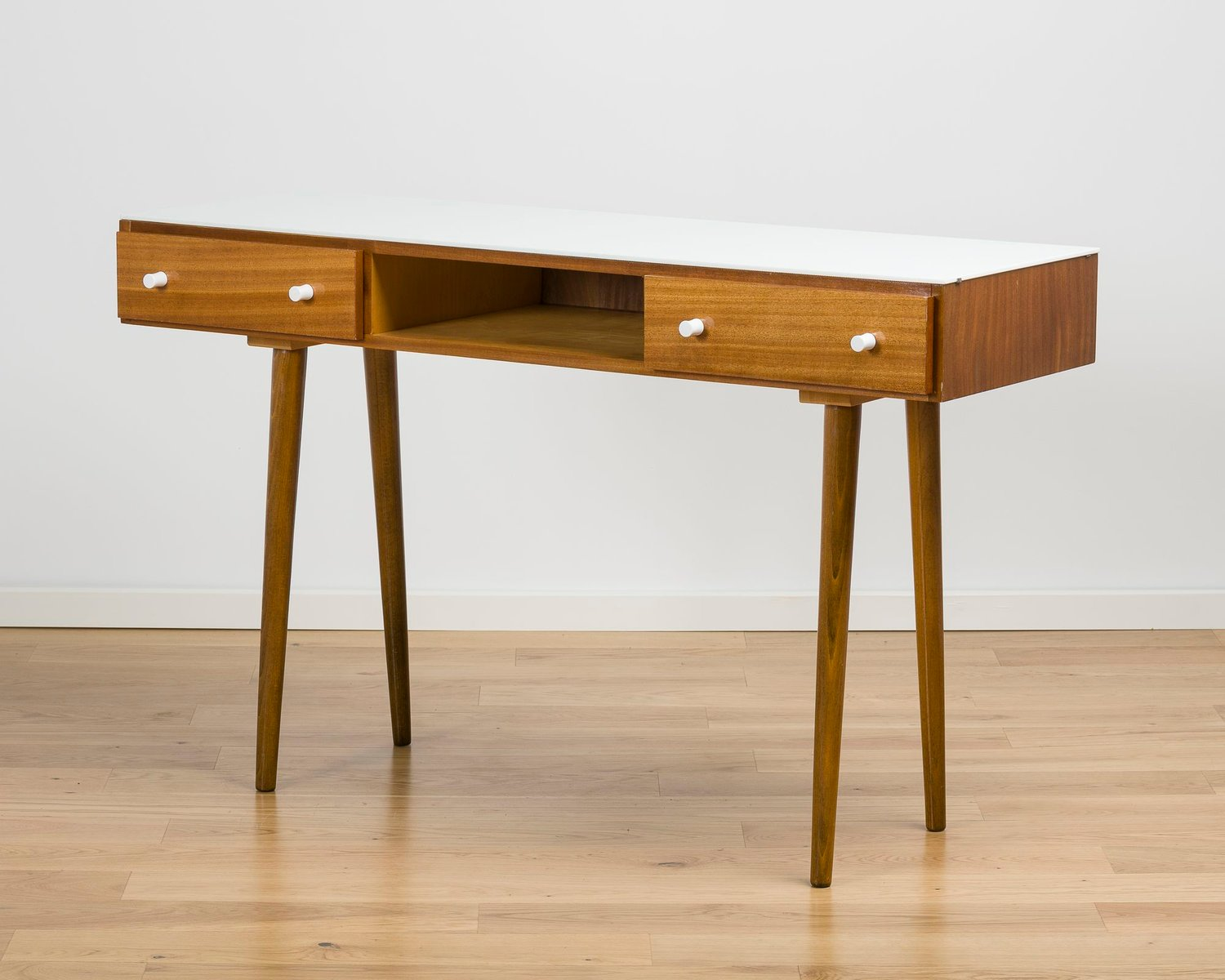 White Gl Wood Console Table 1960s