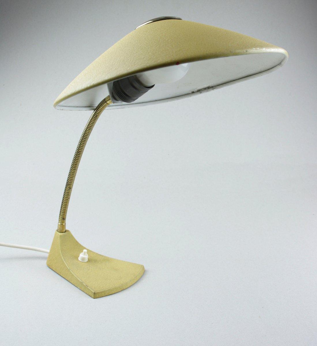 Gelbe lackierte Mid-Century Schreibtischlampe mit Schwanenhals