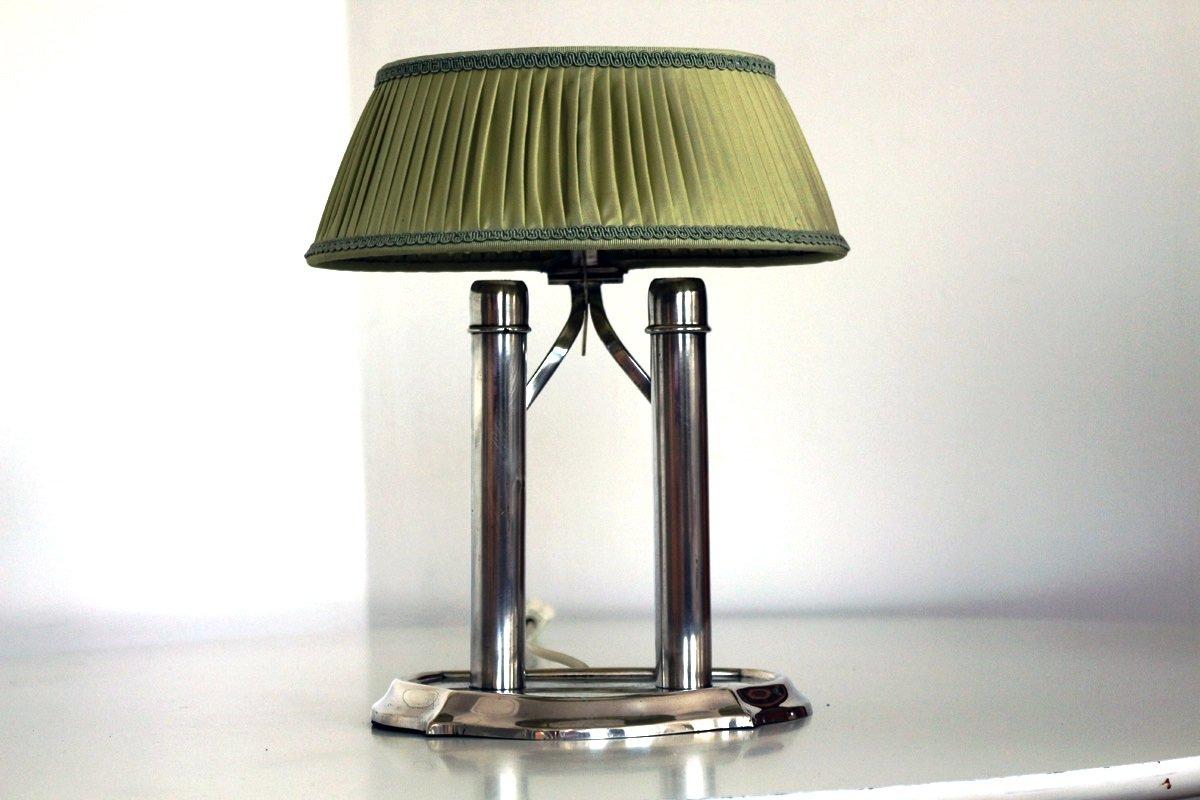 Antike Tischlampe mit grünem Schirm, 1900er