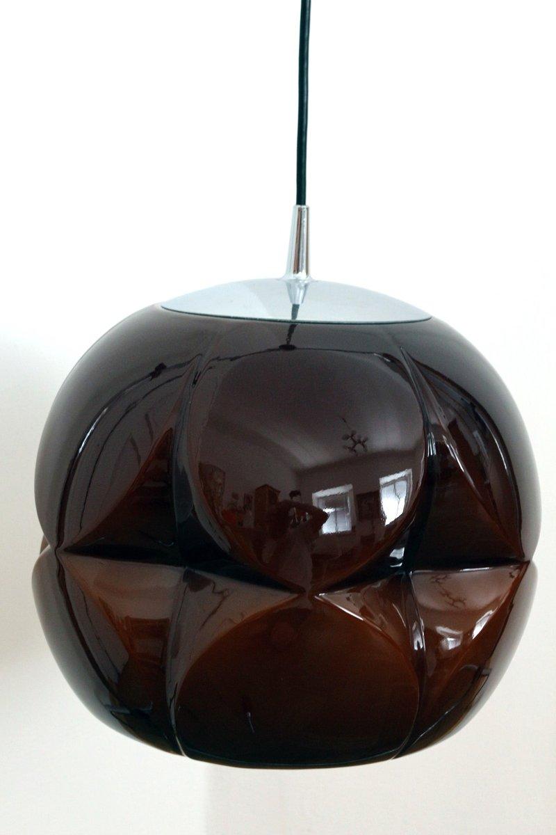 Glas Hängelampe von Peill & Putzler, 1960er