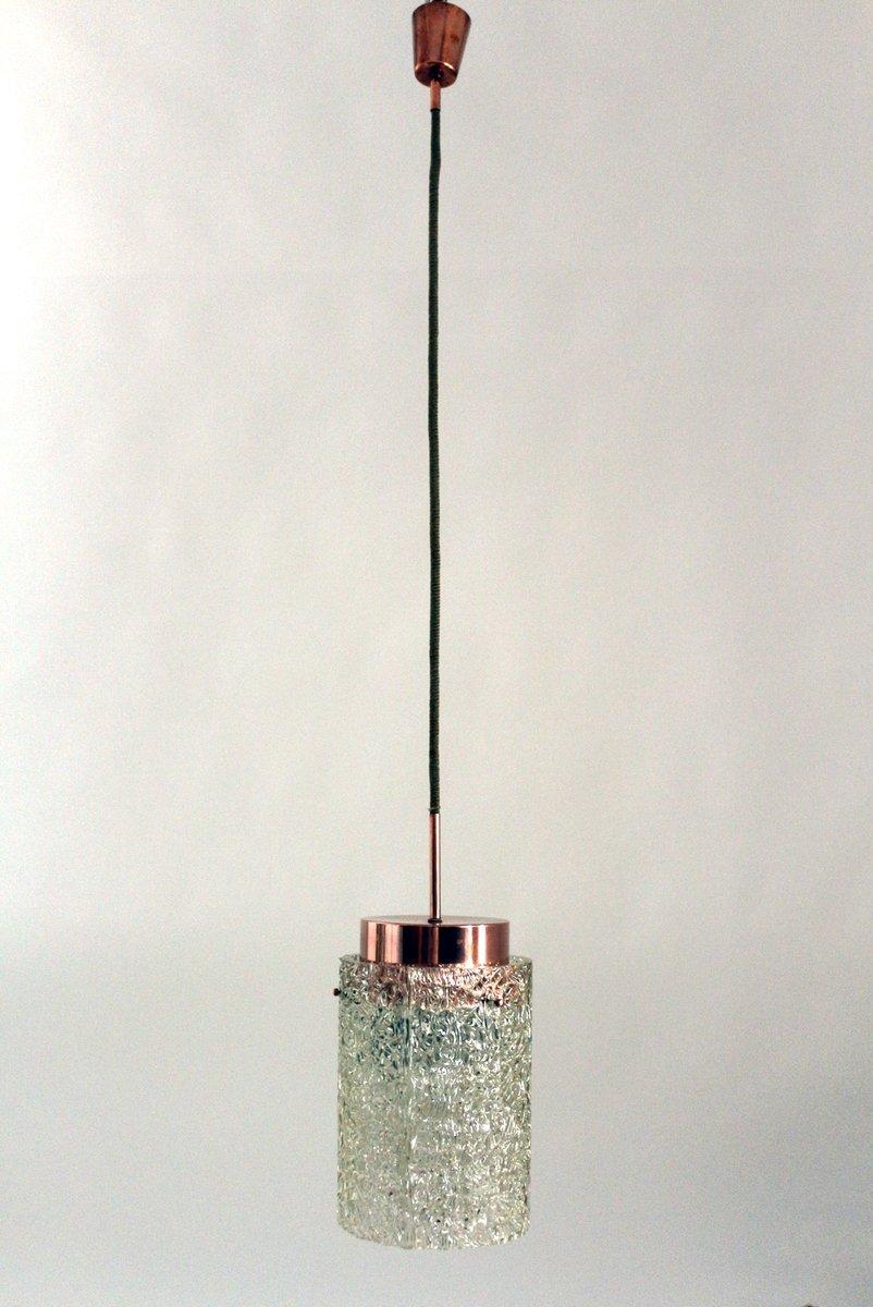 Große zylinderförmige Glas Hängelampe von Kalmar, 1950er