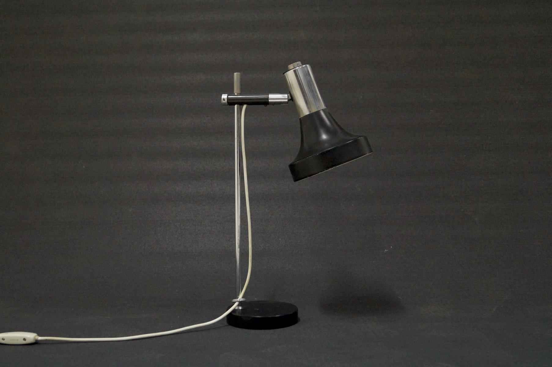 Verstellbare industrielle Schreibtischlampe aus Chrom & Metall, 1960er