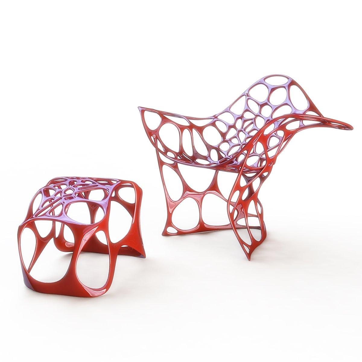 Betoidea Sessel & Fußhocker aus Aluminiumguss von Peter Donders