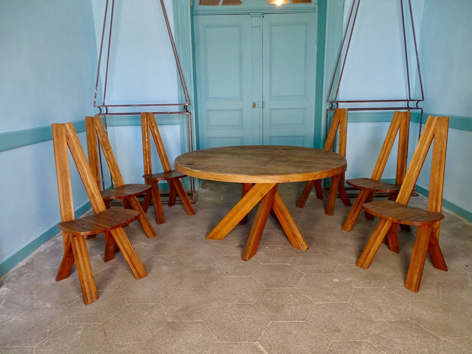 Mid-Century T21 Dining Table & S45 Chairs by Pierre Chapo for sale ...