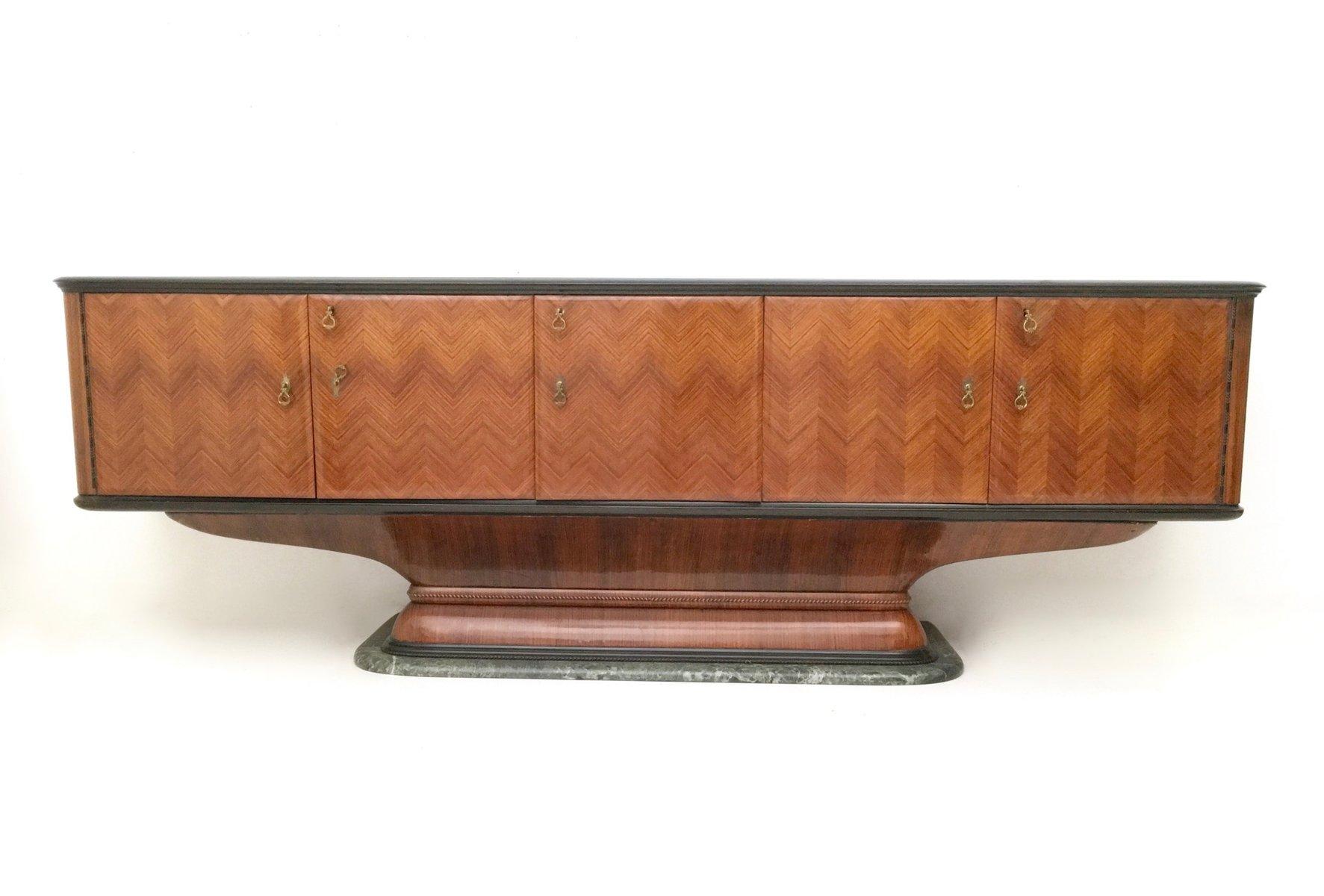 Palisander sideboard mit gr nem marmorfu schwarz for Sideboard mit glas