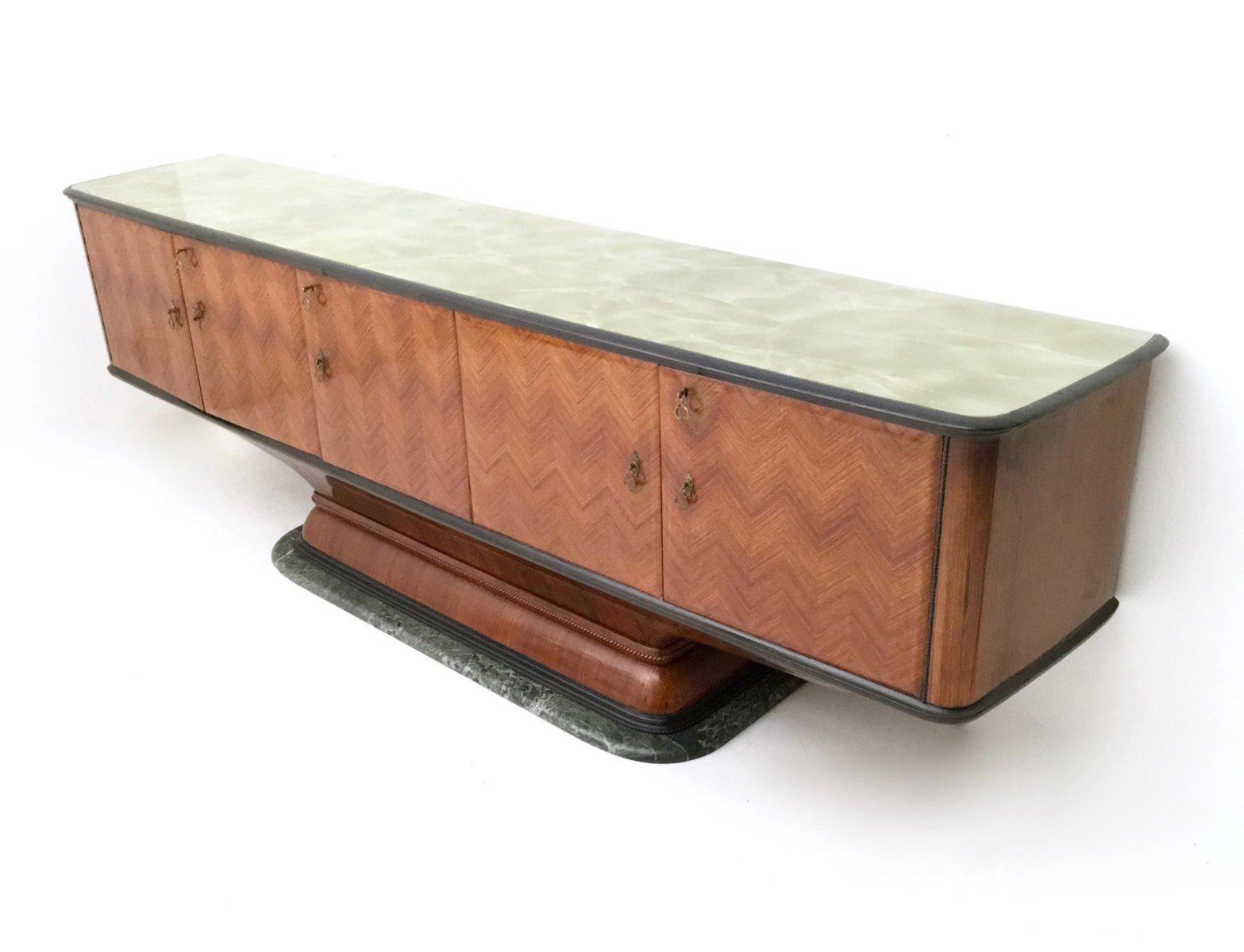 palisander sideboard mit gr nem marmorfu schwarz lackierter tischplatte aus glas 1950er bei. Black Bedroom Furniture Sets. Home Design Ideas
