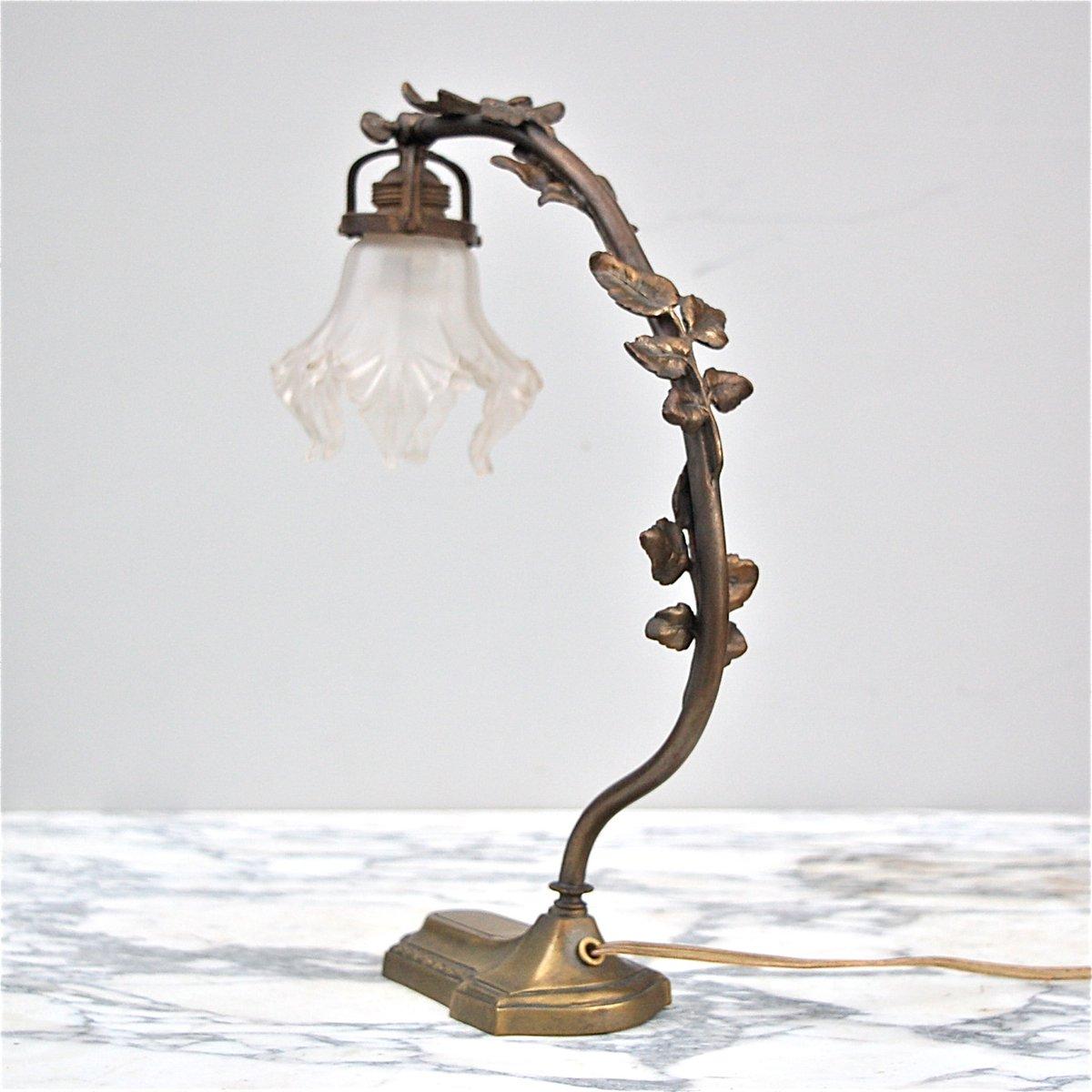Bronzene französische Jugendstil Schreibtischlampe