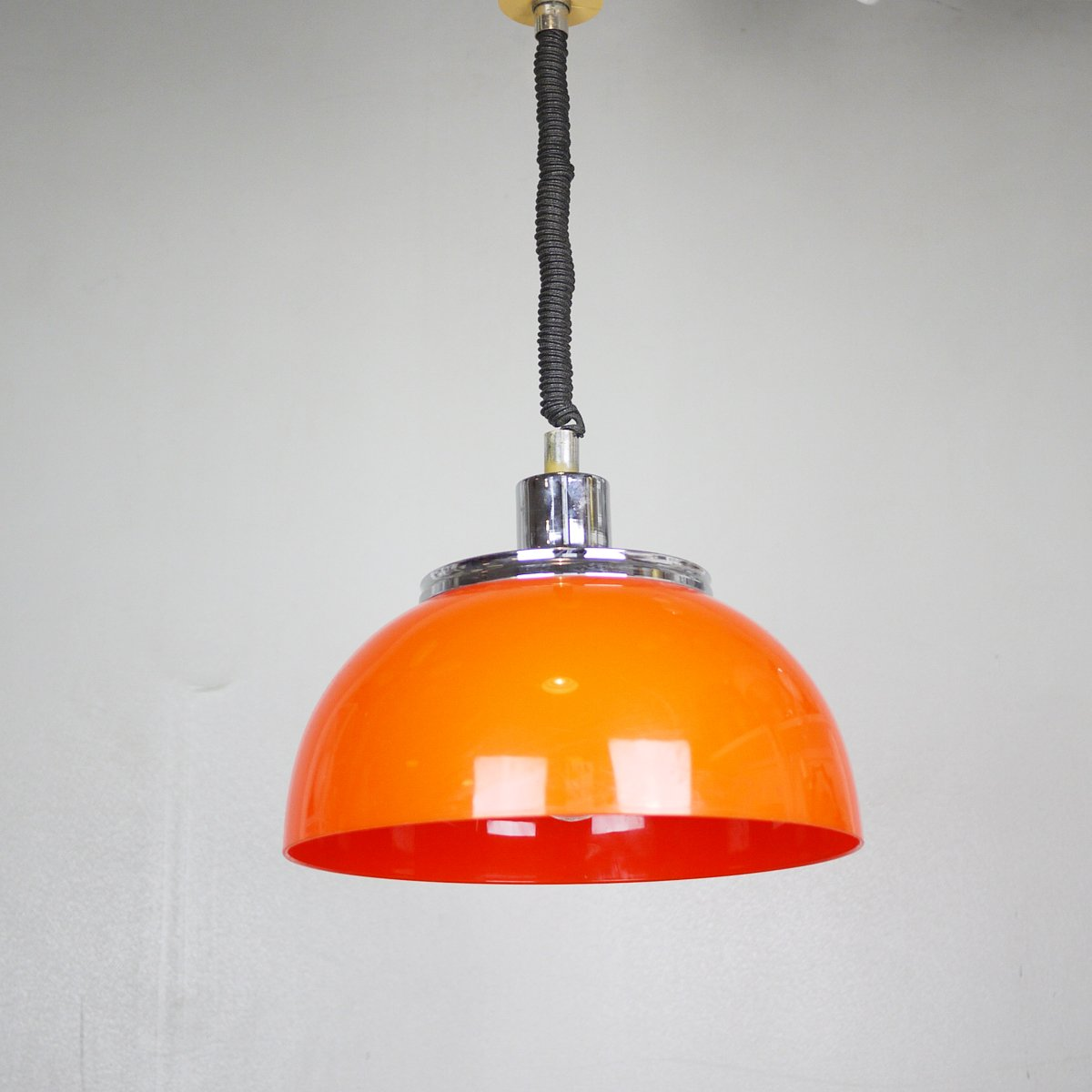 Mid century pull down orange pendant light from meblo