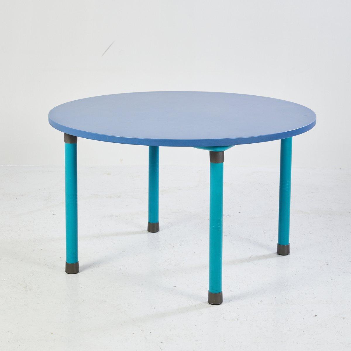 Runder blauer Esstisch, 1970er