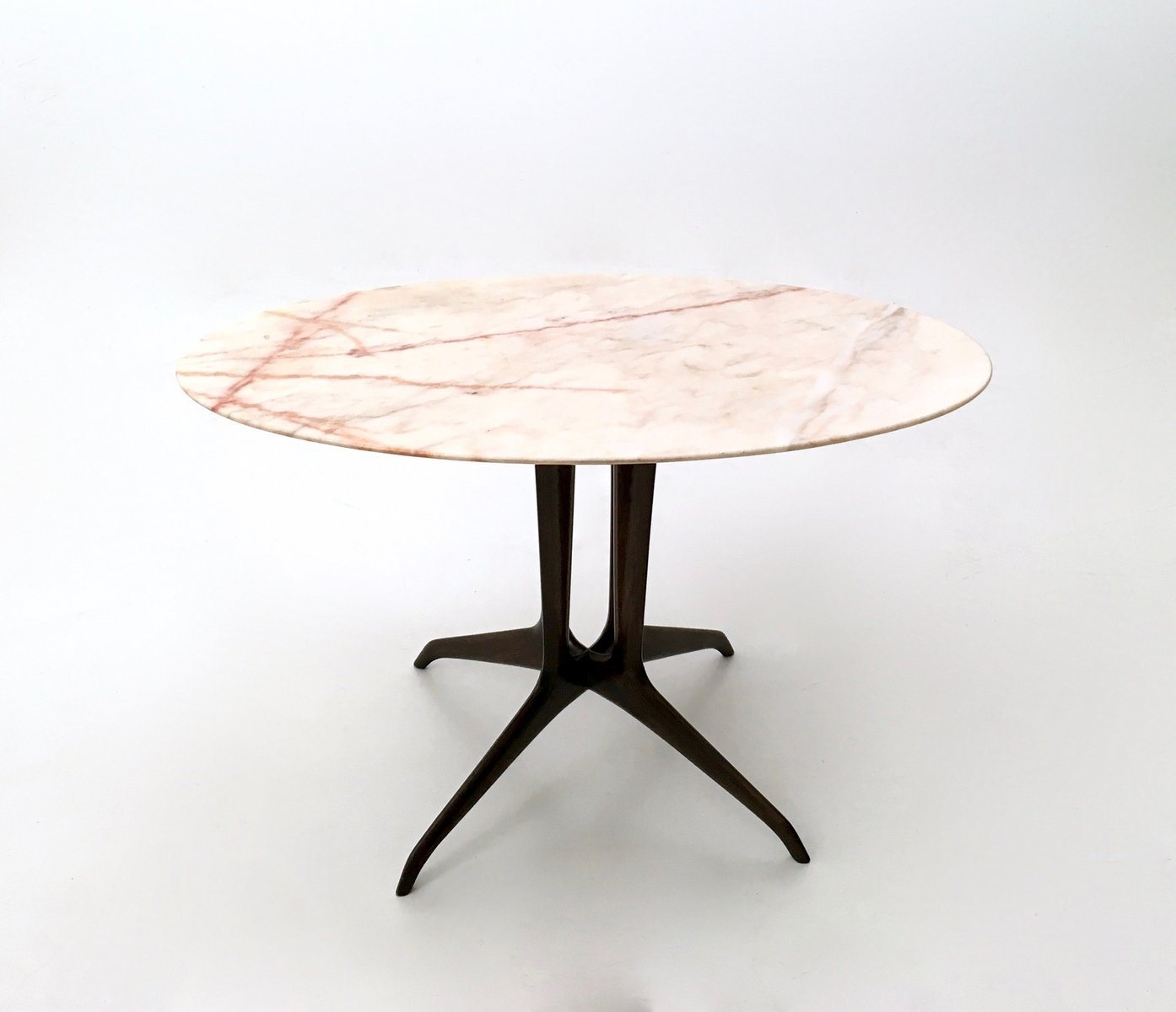 Italian Coffee Table With Portuguese Pink Marble Top 1950s