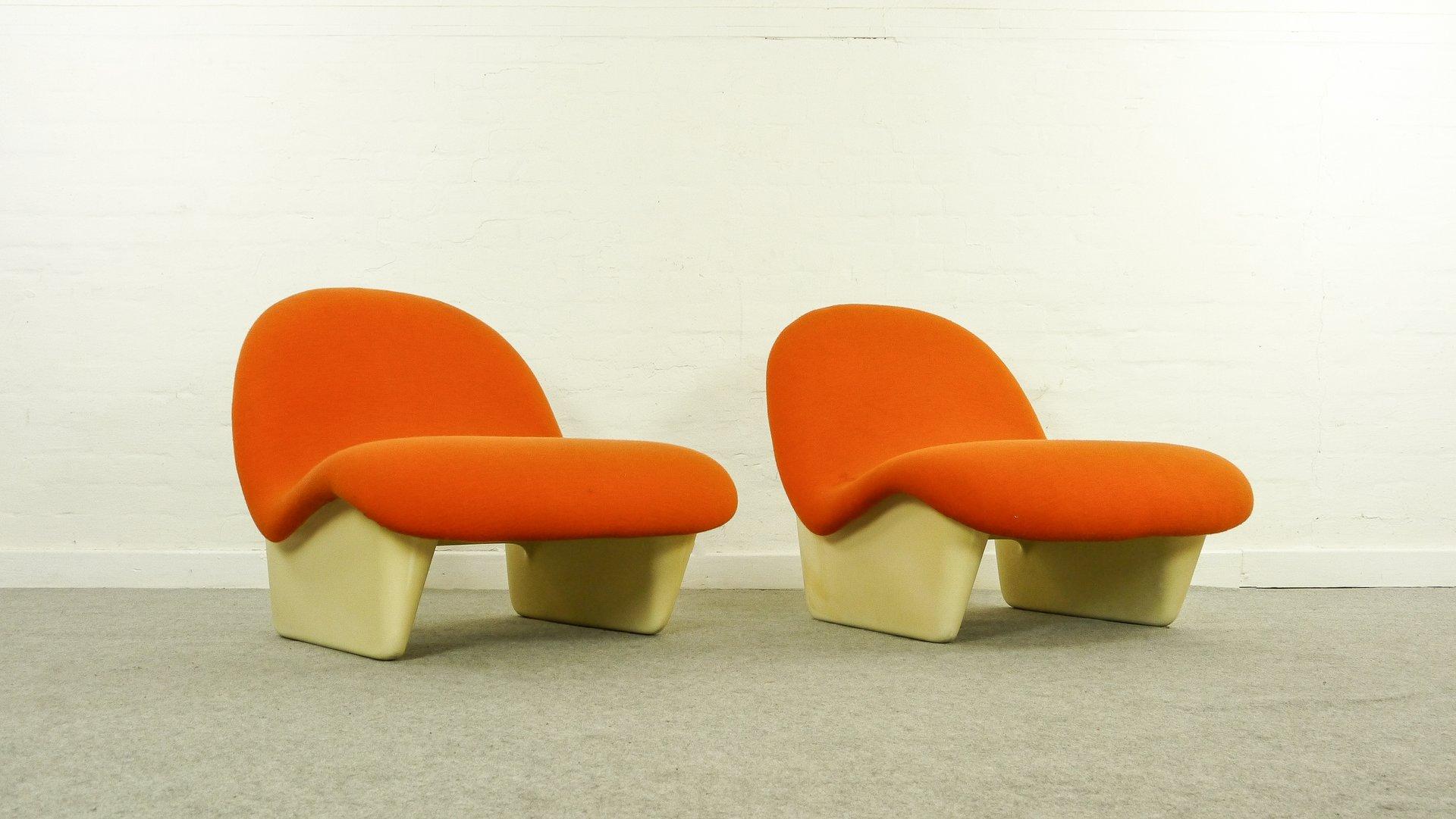 Orange Sadima Sessel von Luigi Colani für Basf, 1970er, 2er Set