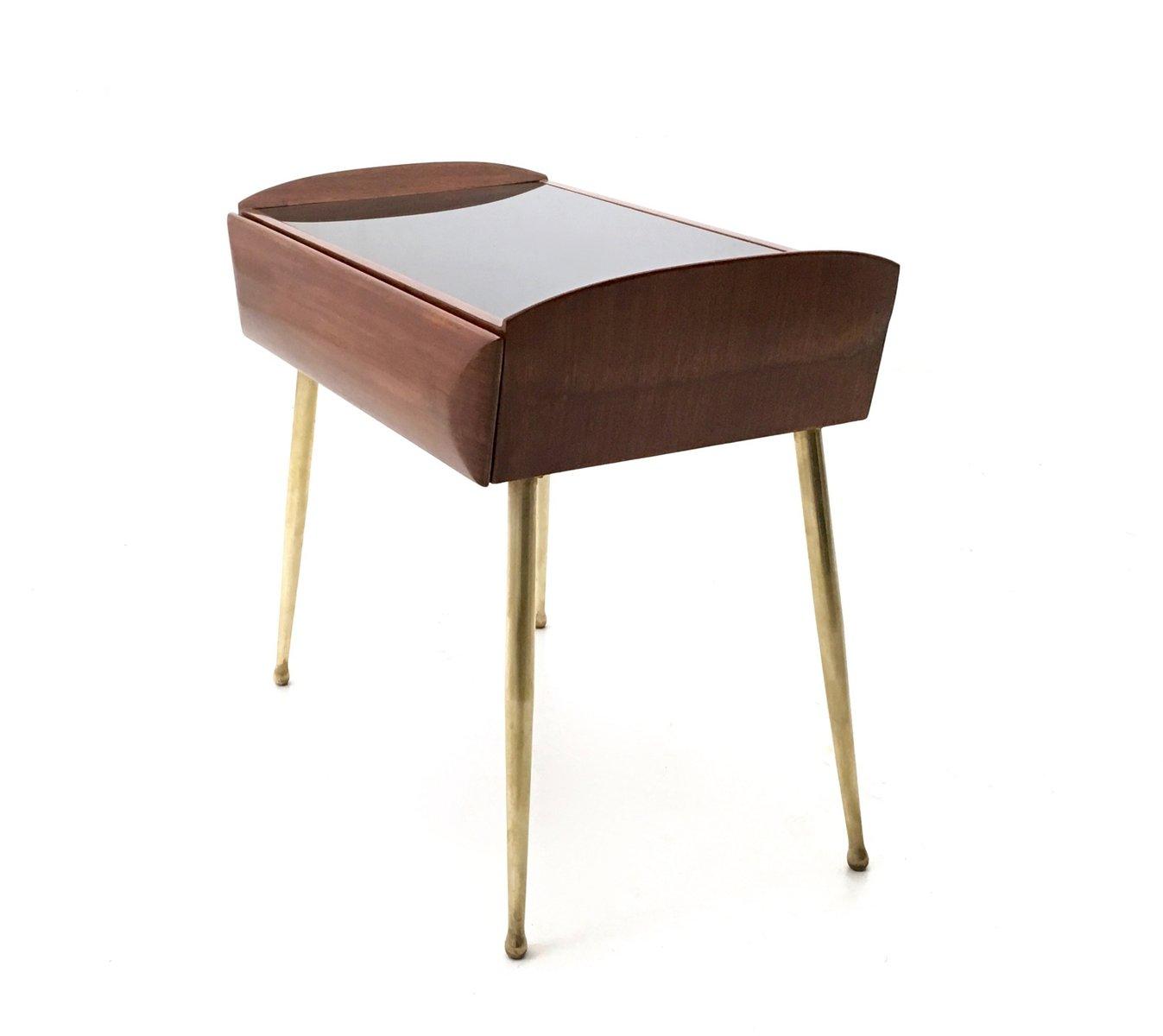 tables de chevet en ch ne et rable avec plateau en verre peint en noir 1950s set de 2 en. Black Bedroom Furniture Sets. Home Design Ideas