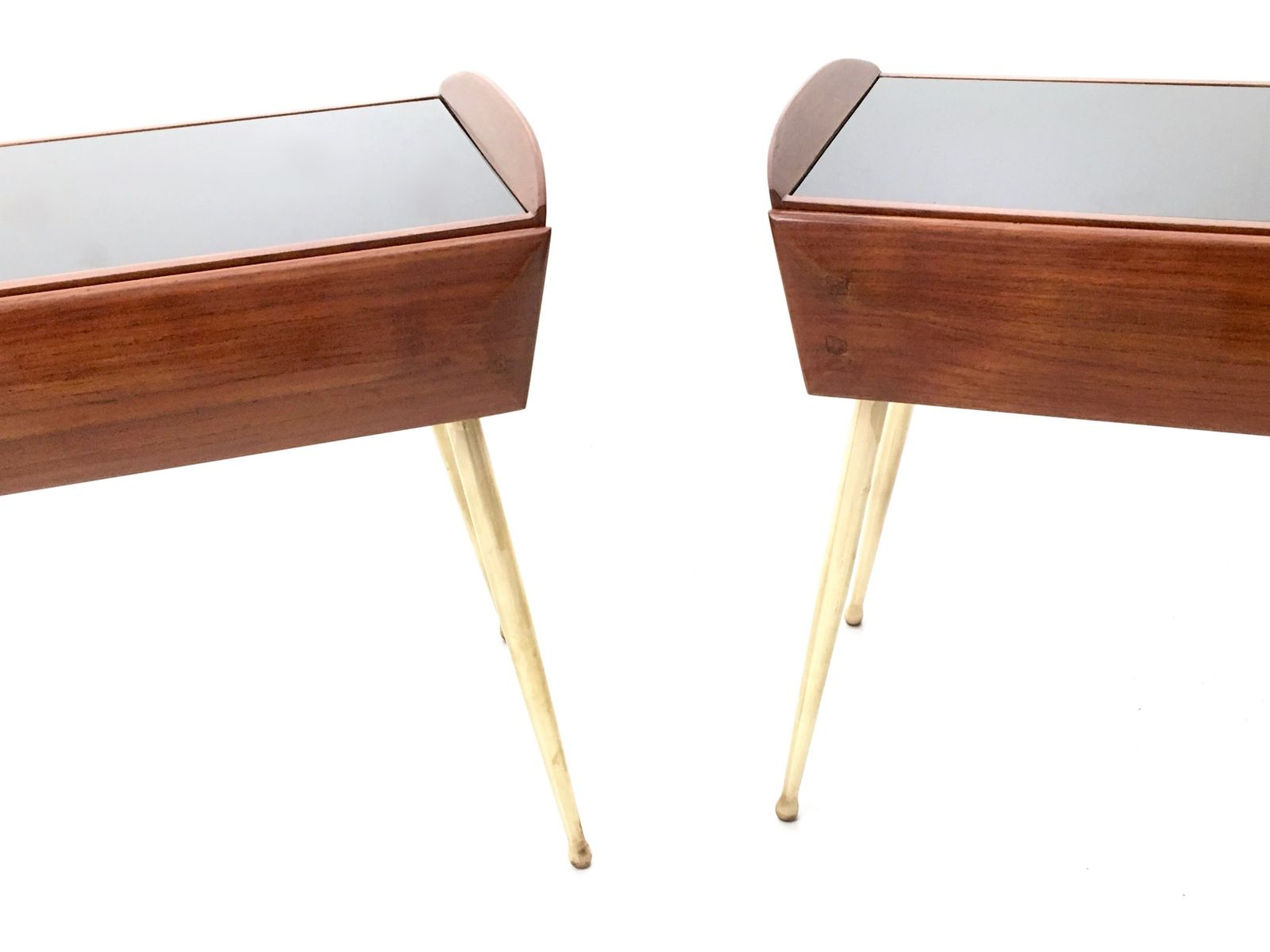 Walnut And Maple Nightstands With A Black Back Painted Glass Tops 1950s Set Of 2