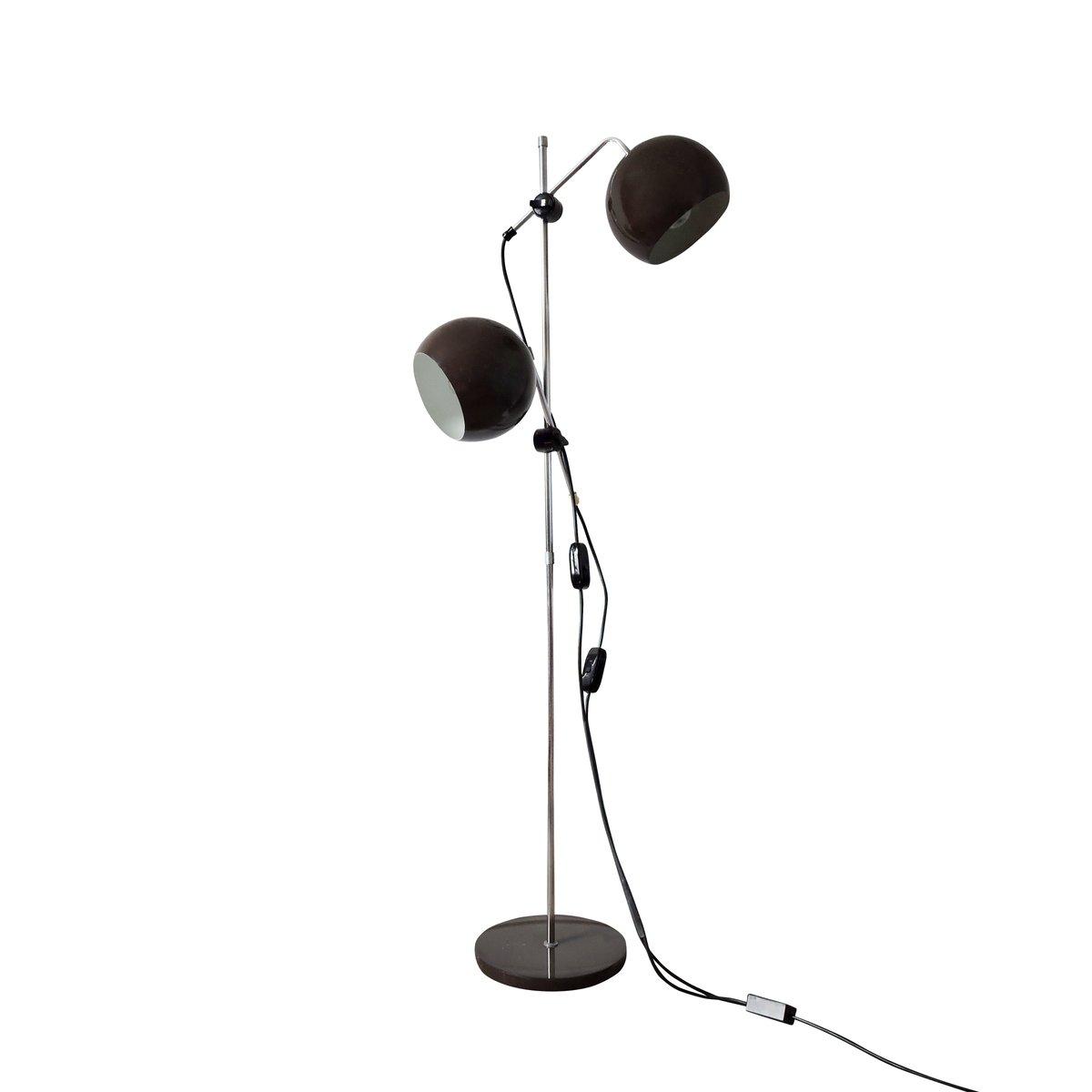 Braune kugelförmige Stehlampe mit 2 Leuchten, 1960er