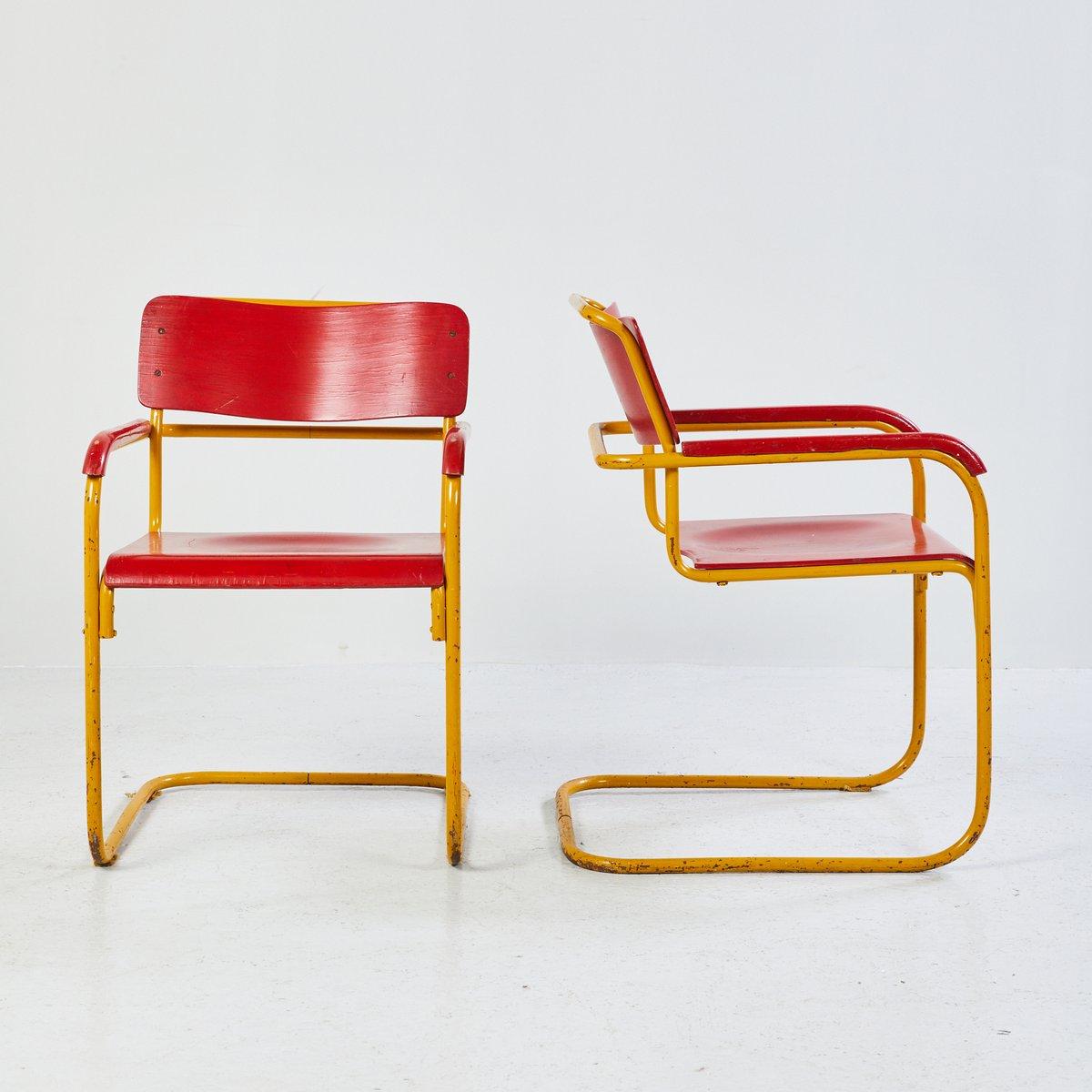 stuhl im bauhaus stil in rot blau 1960er bei pamono kaufen. Black Bedroom Furniture Sets. Home Design Ideas