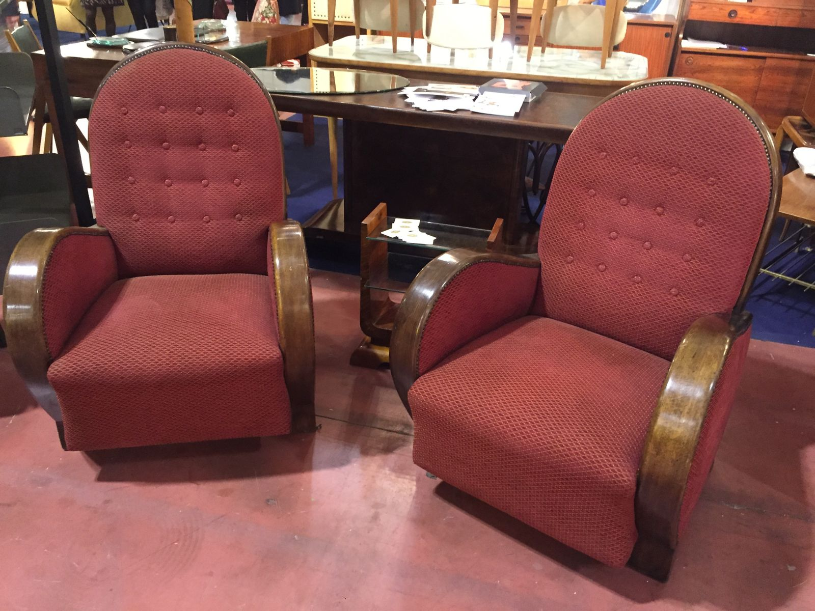 Vintage art déco lounge chairs set of for sale at pamono