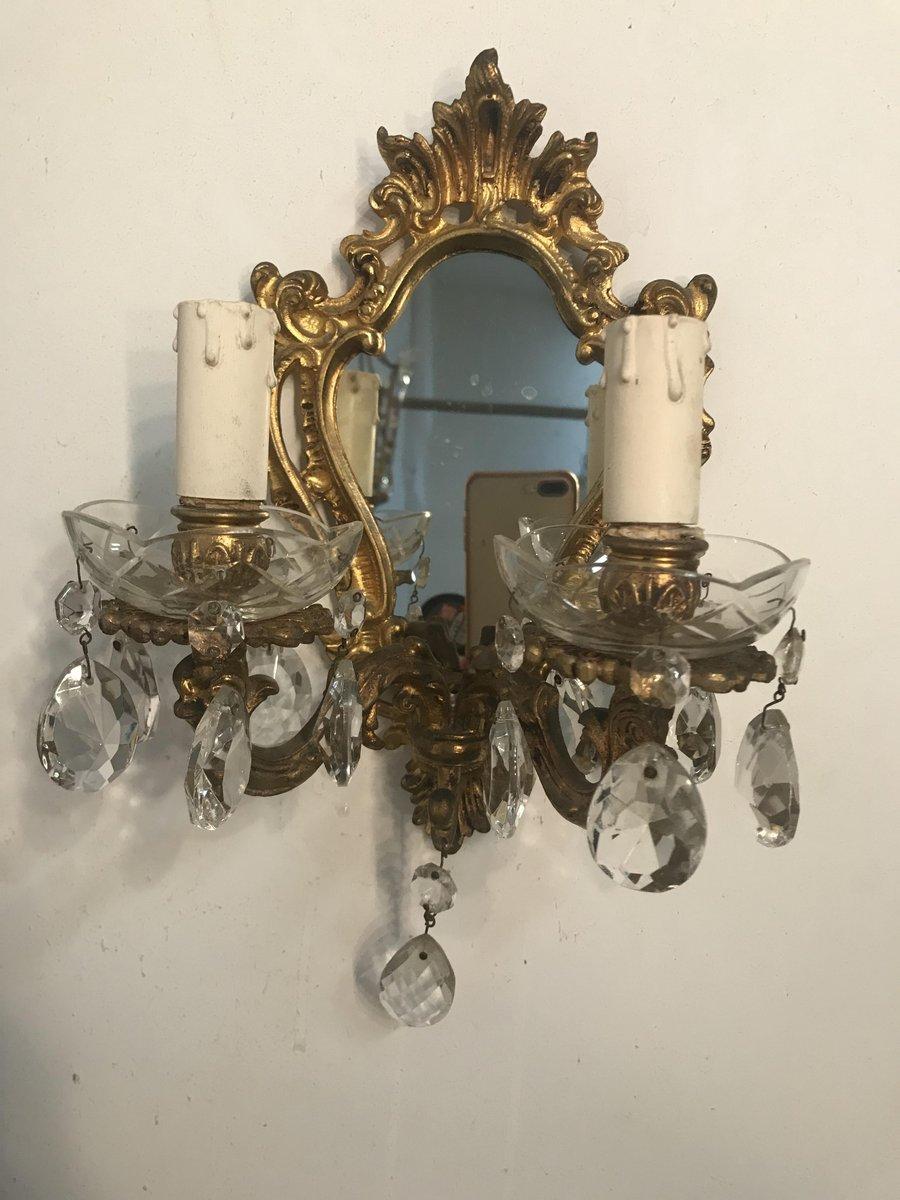 Italienische Vintage Bronze Wandlampen, 2er Set