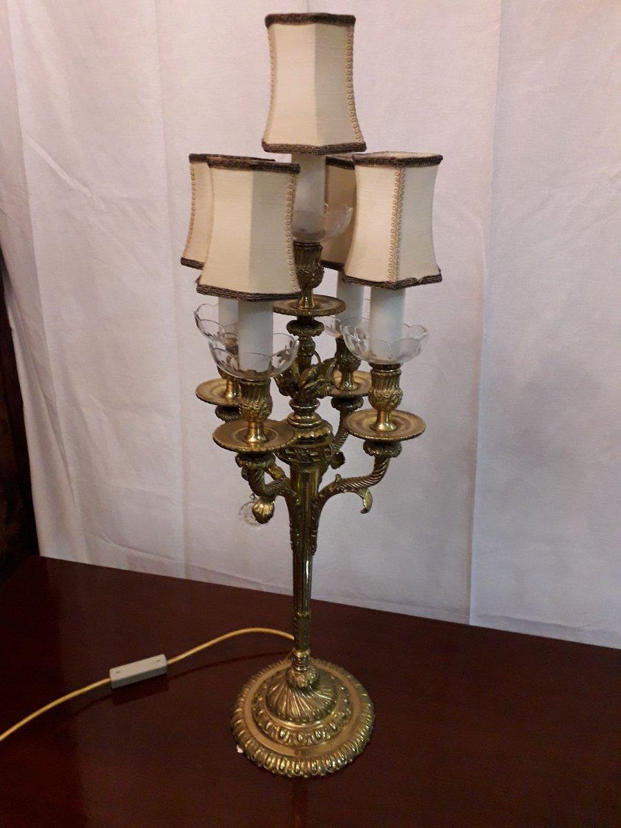 Vintage Bronze und böhmisches Kristallglas Tischlampe