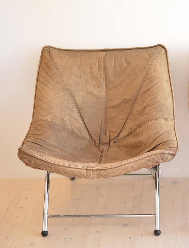 Klappbarer Leder Stuhl von Teun van Zanten für Molinari, 1970er