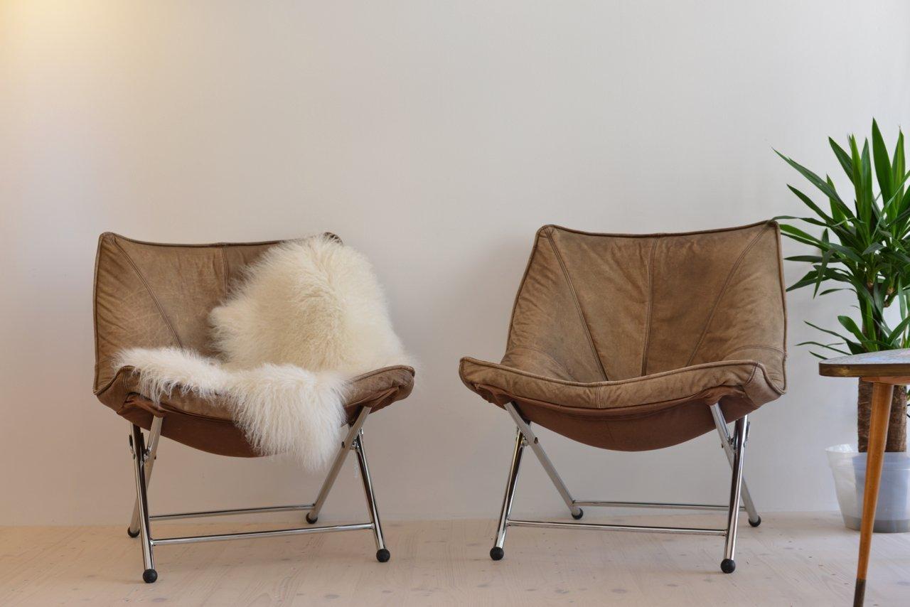 chaise pliante en cuir par teun van zanten pour molinari 1970s en vente sur pamono. Black Bedroom Furniture Sets. Home Design Ideas