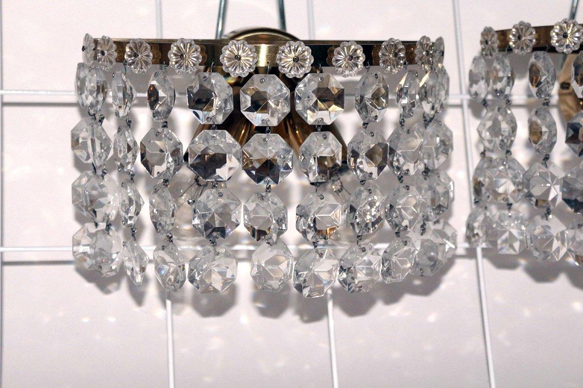 Kristallglas Wandlampen von Austrolux, 1950er, 2er Set