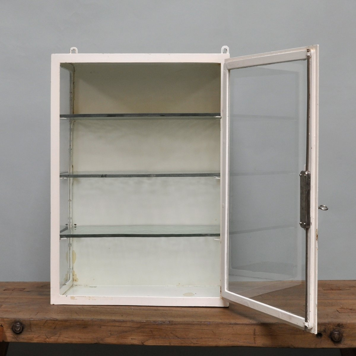 Price per piece - Small Hanging Iron & Antique Glass Medicine Cabinet, 1940s For Sale