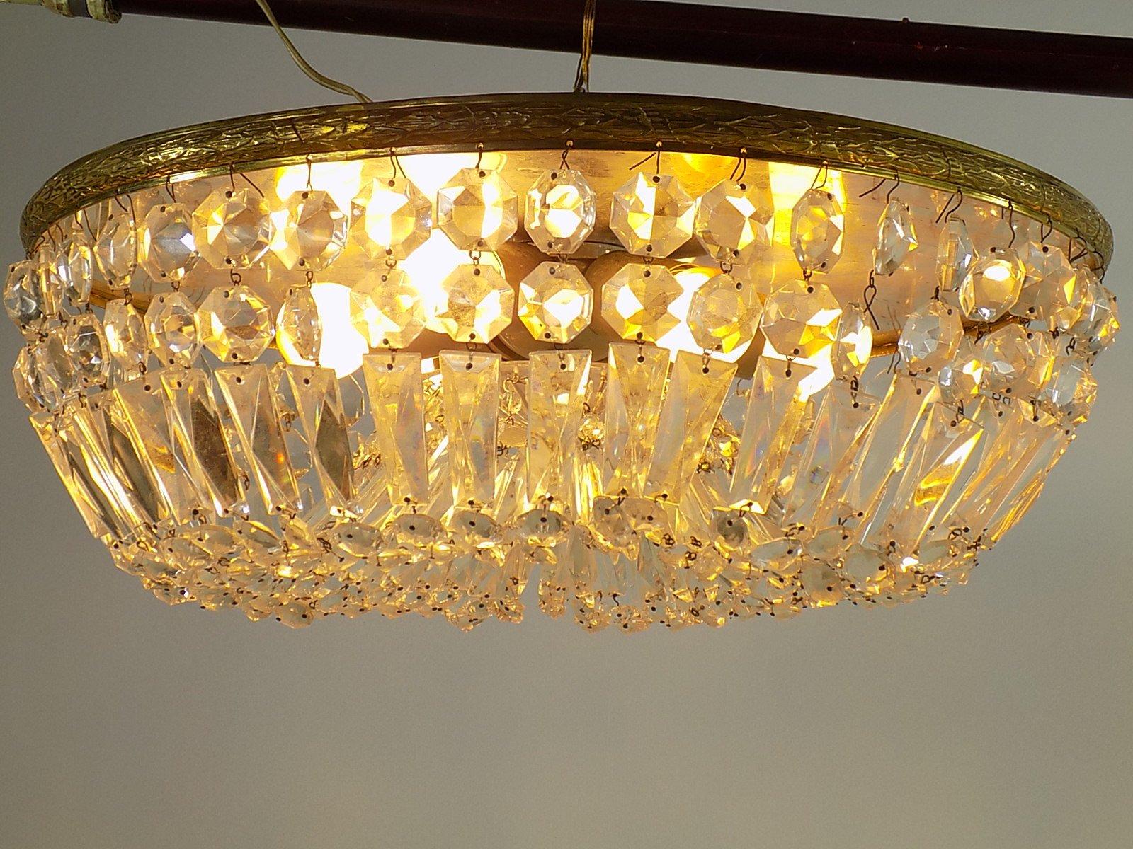 Hollywood Regency Messing & Kristallglas Kronleuchter & 2 Wandlampen, ...
