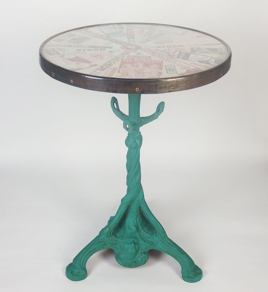 Antique French Bistro Table With Glass Top