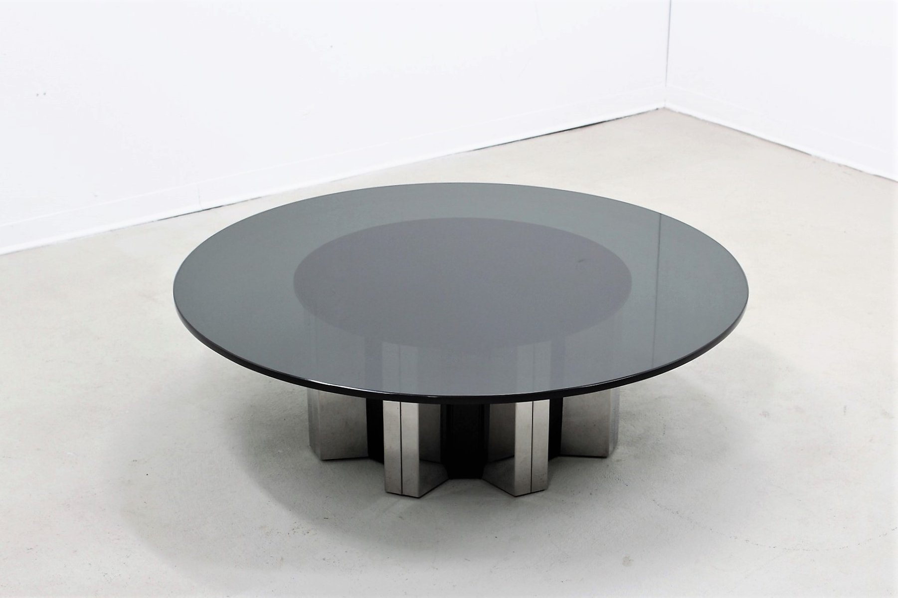 grande table basse ronde par willy rizzo 1970s - Grande Table Basse Ronde