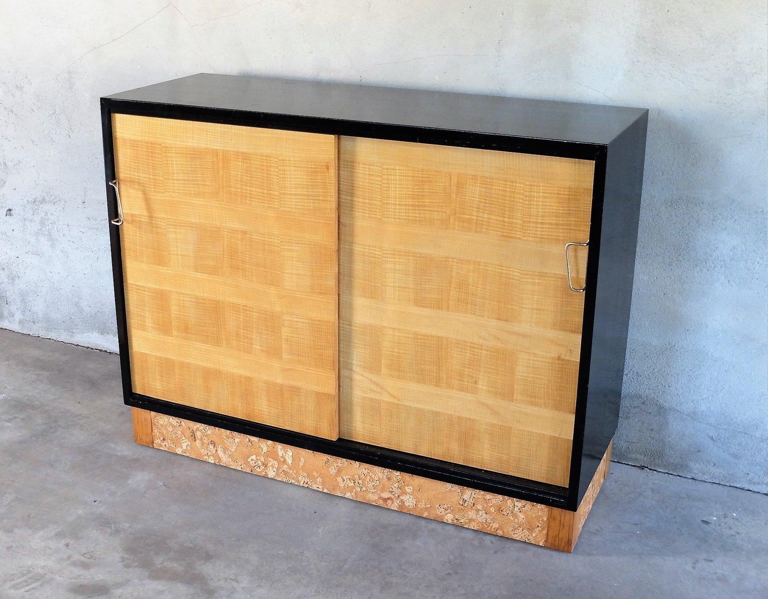 buffet vintage en bois laqu noir et contreplaqu de sycomore 1950s en vente sur pamono. Black Bedroom Furniture Sets. Home Design Ideas