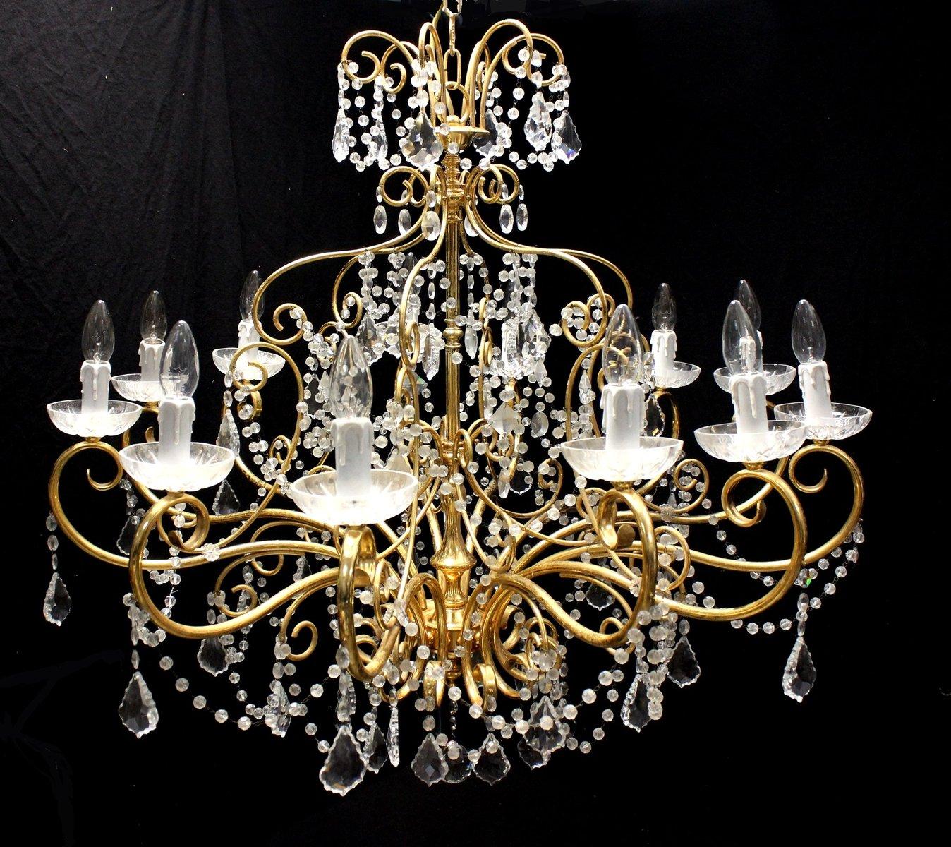 Vintage gold chandelier with swarovski crystal drops from strass vintage gold chandelier with swarovski crystal drops from strass 1980s aloadofball Gallery