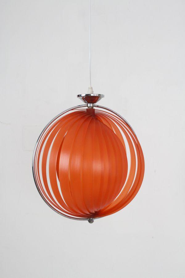 Vintage Space Age Hängeleuchte in hellem Orange