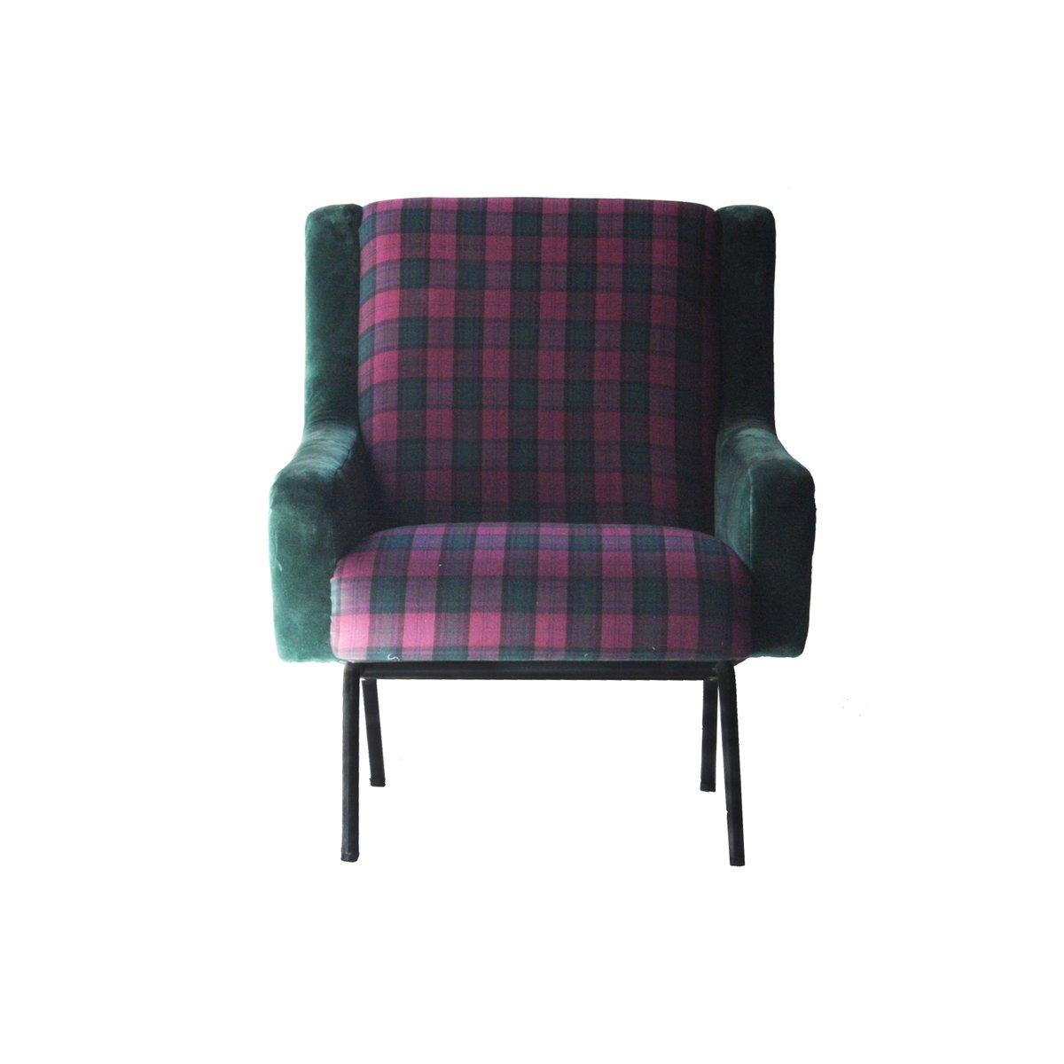 Sessel mit Holzgestellen und Bezug aus Samt im Schottenkaro, 1950er, 2...