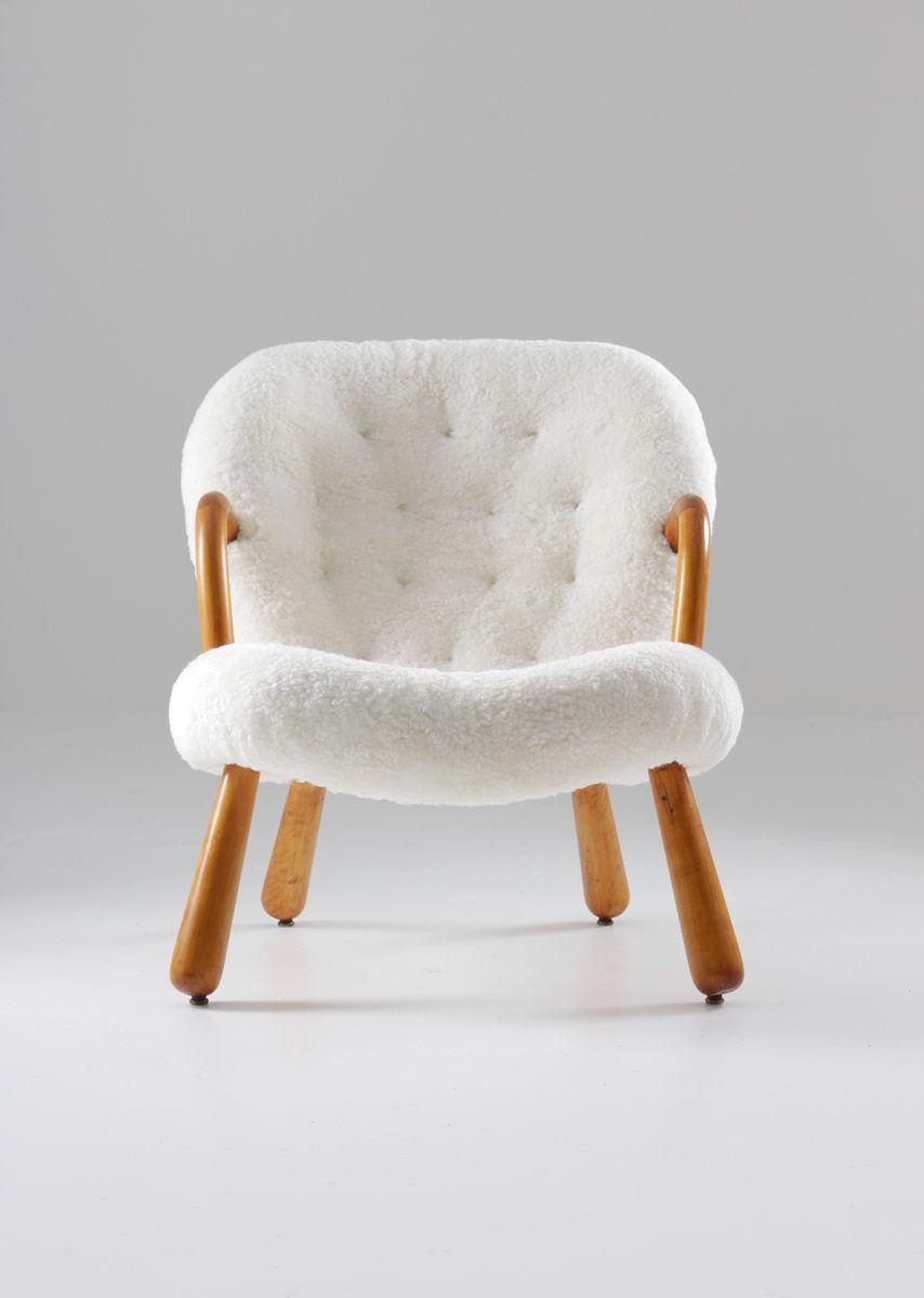 Vintage Clam Stuhl von Philip Arctander für Nordisk Staal & Møbel Cent...