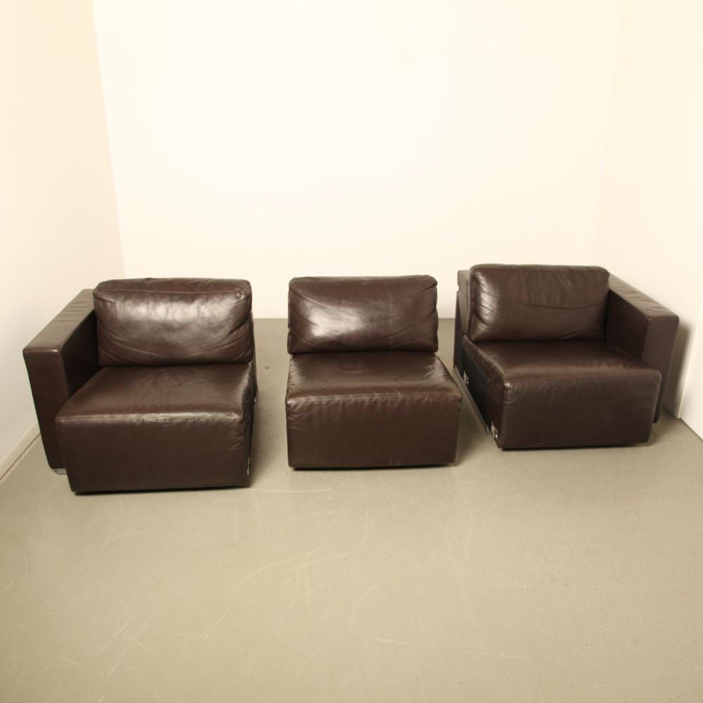 Vintage Modular Brown Leather Sofa By Walter Knoll For