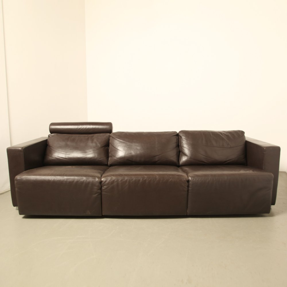vintage modular brown leather sofa by walter knoll for sale at pamono. Black Bedroom Furniture Sets. Home Design Ideas