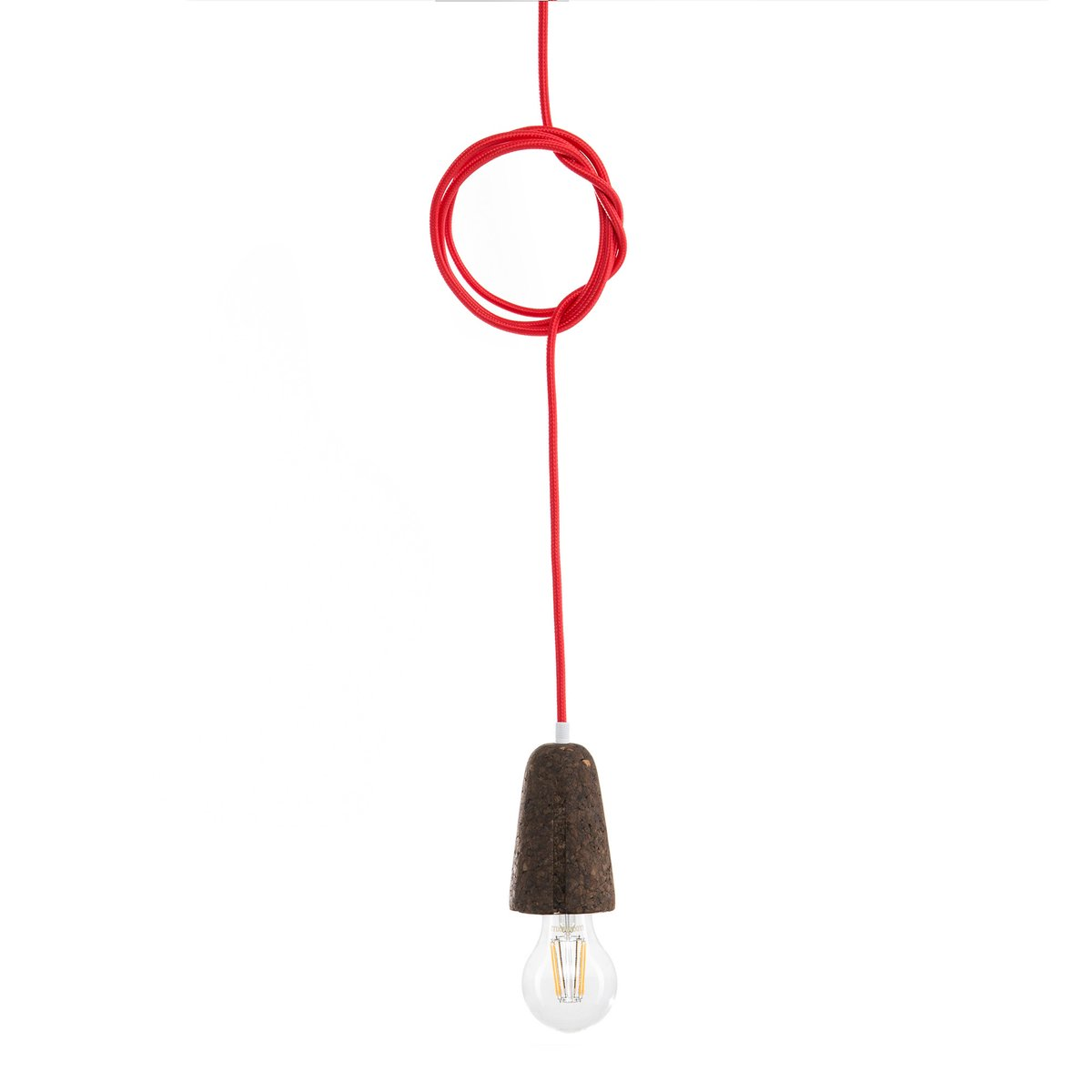 Sininho Pendant Lamp in Dark Cork with Red Wire from Galula for sale ...