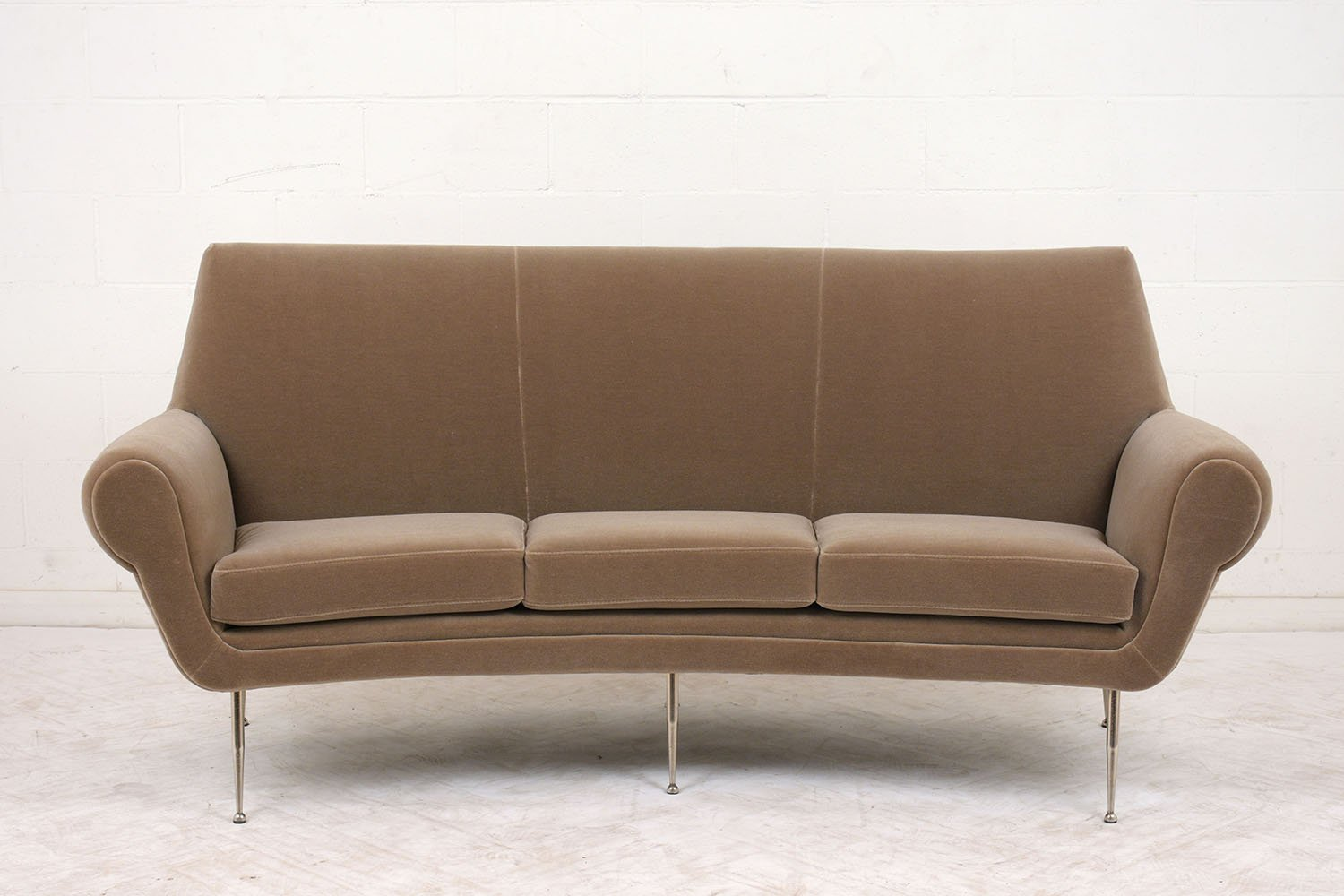 Italian Modern 3 Seater Curved Sofa 1960s
