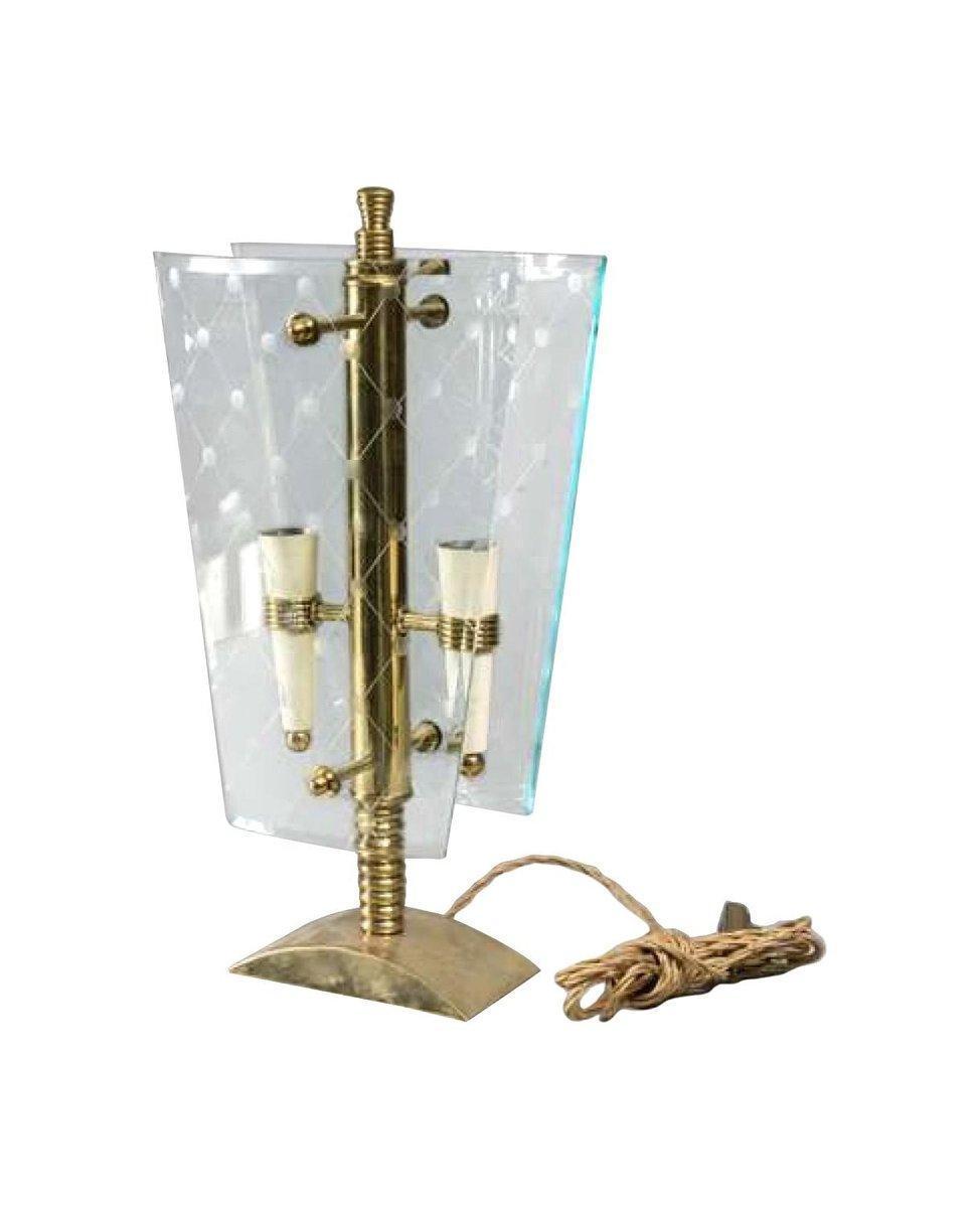 Italienische Vintage Tischlampe aus Messing & Glas von Pietro Chiesa