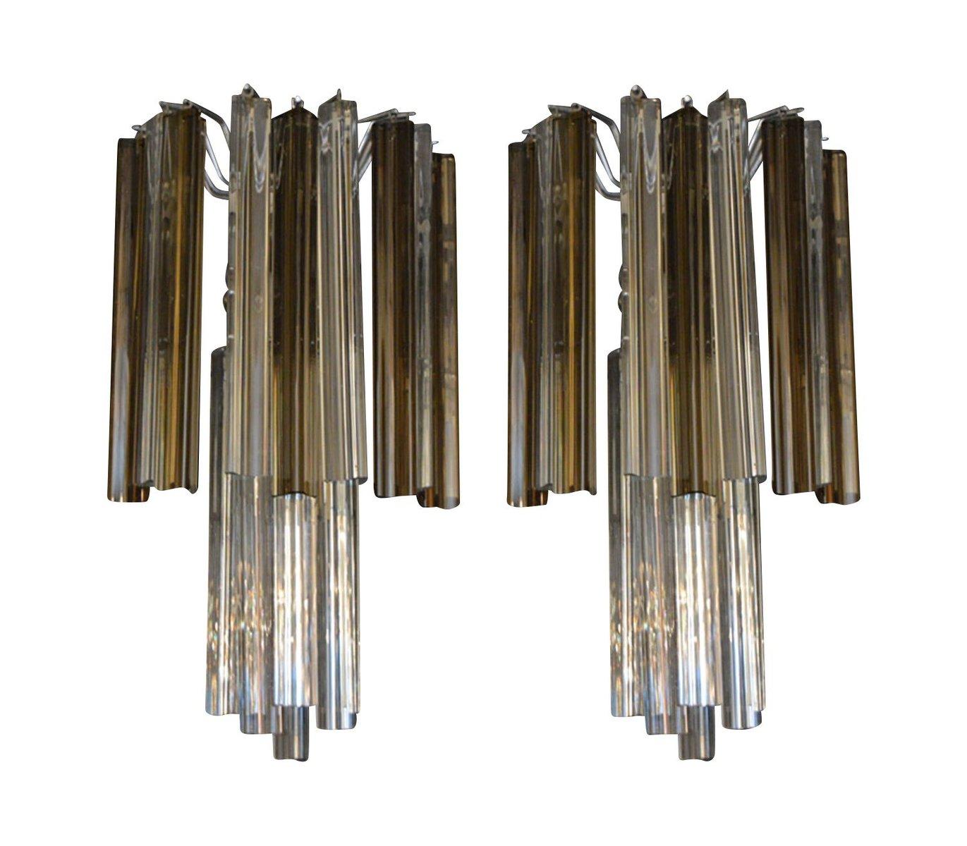 Dreieckige Glas Wandlampen von Venini, 1970er, 2er Set