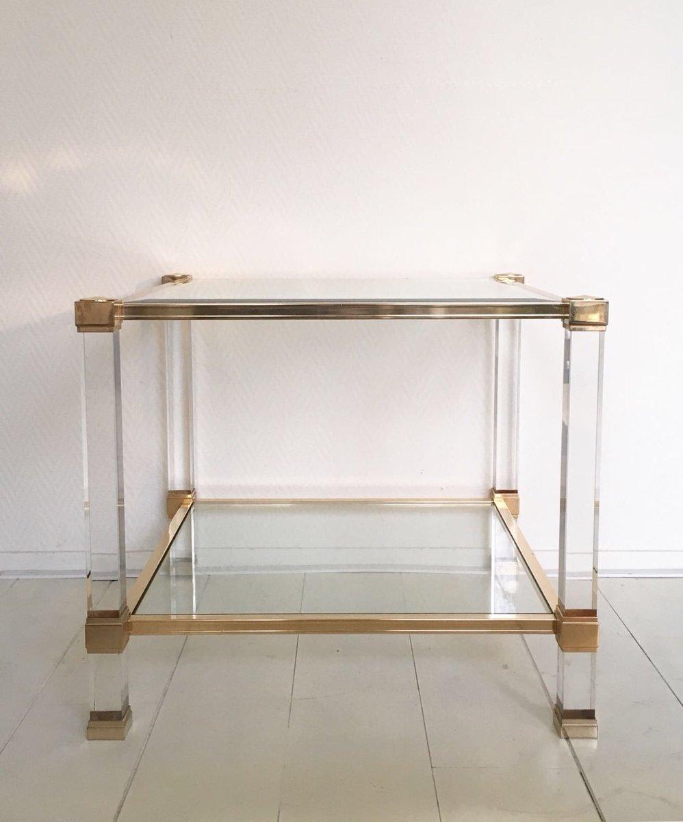 Quadratischer plexiglas und glas couchtisch von pierre for Plexiglas couchtisch