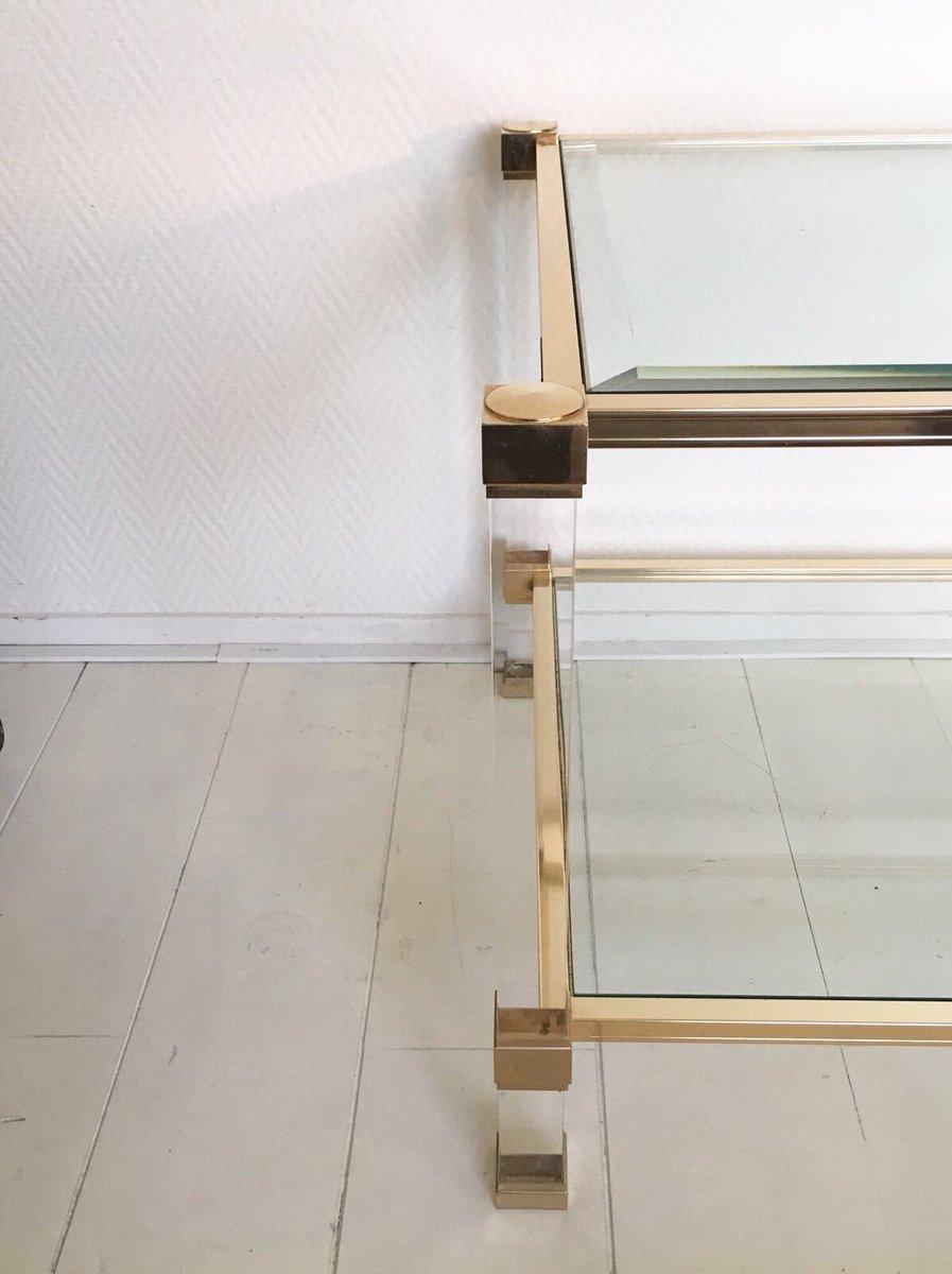 table basse carr e en verre lucite par pierre vandel. Black Bedroom Furniture Sets. Home Design Ideas